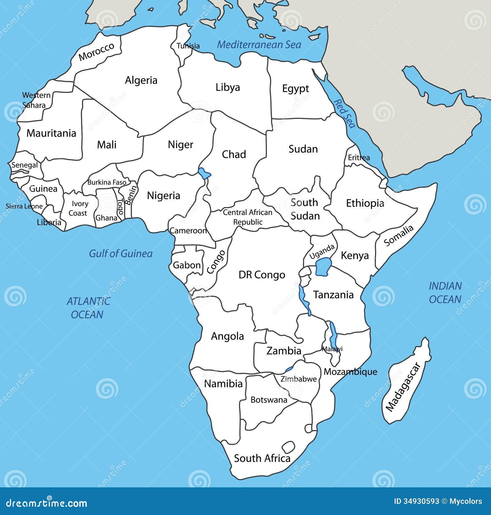 Afrika Karta Illyustraciya Vektora Illyustracii Naschityvayushej
