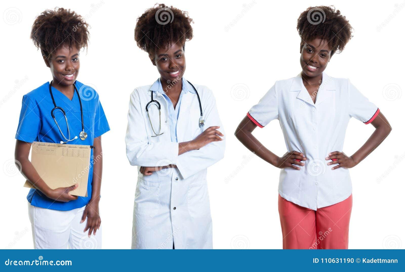 Афро-американская женщина как медсестра и доктор и женский аптекарь