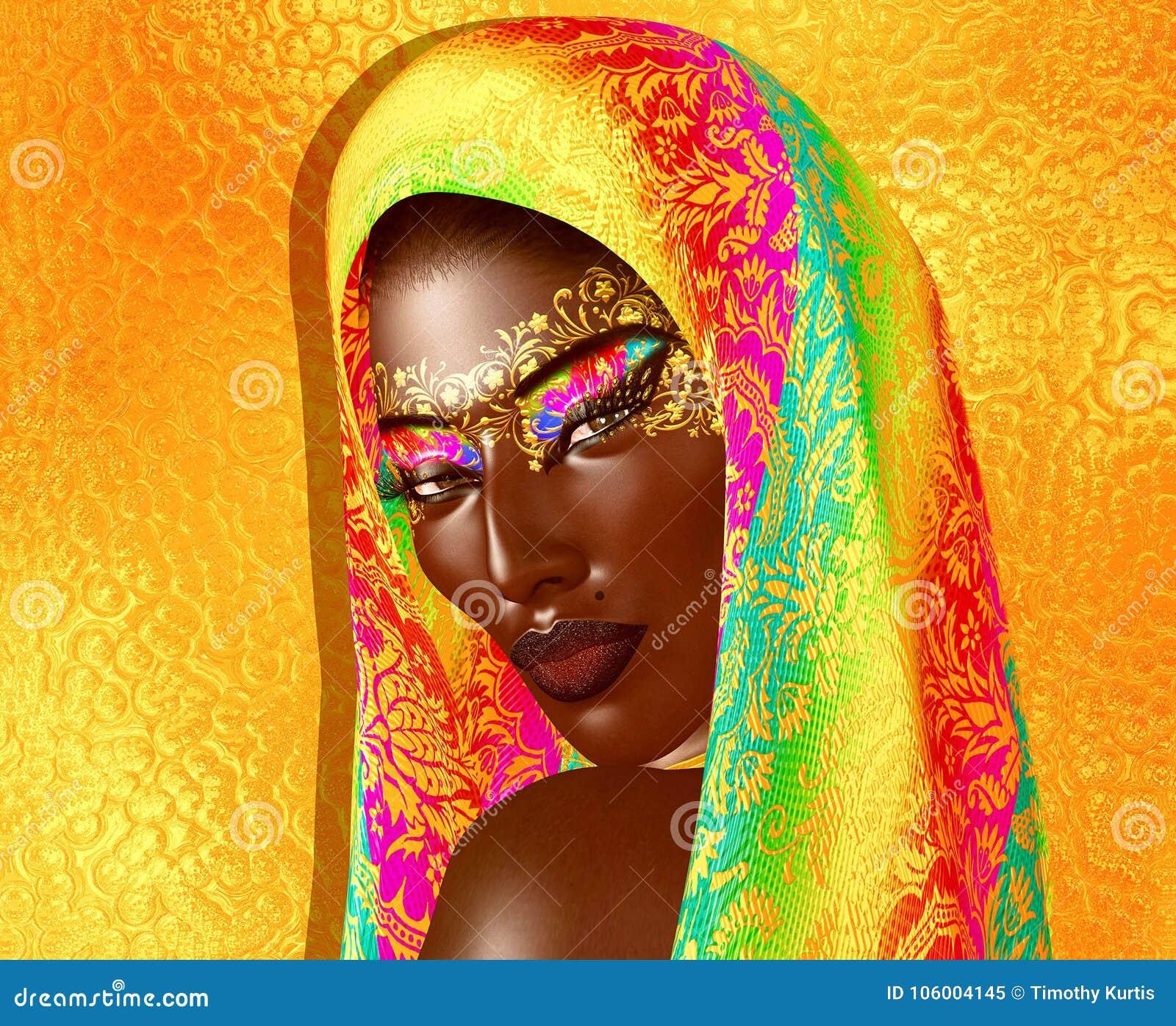 Афро-американская красота моды с головными косметиками вуали и яркого блеска