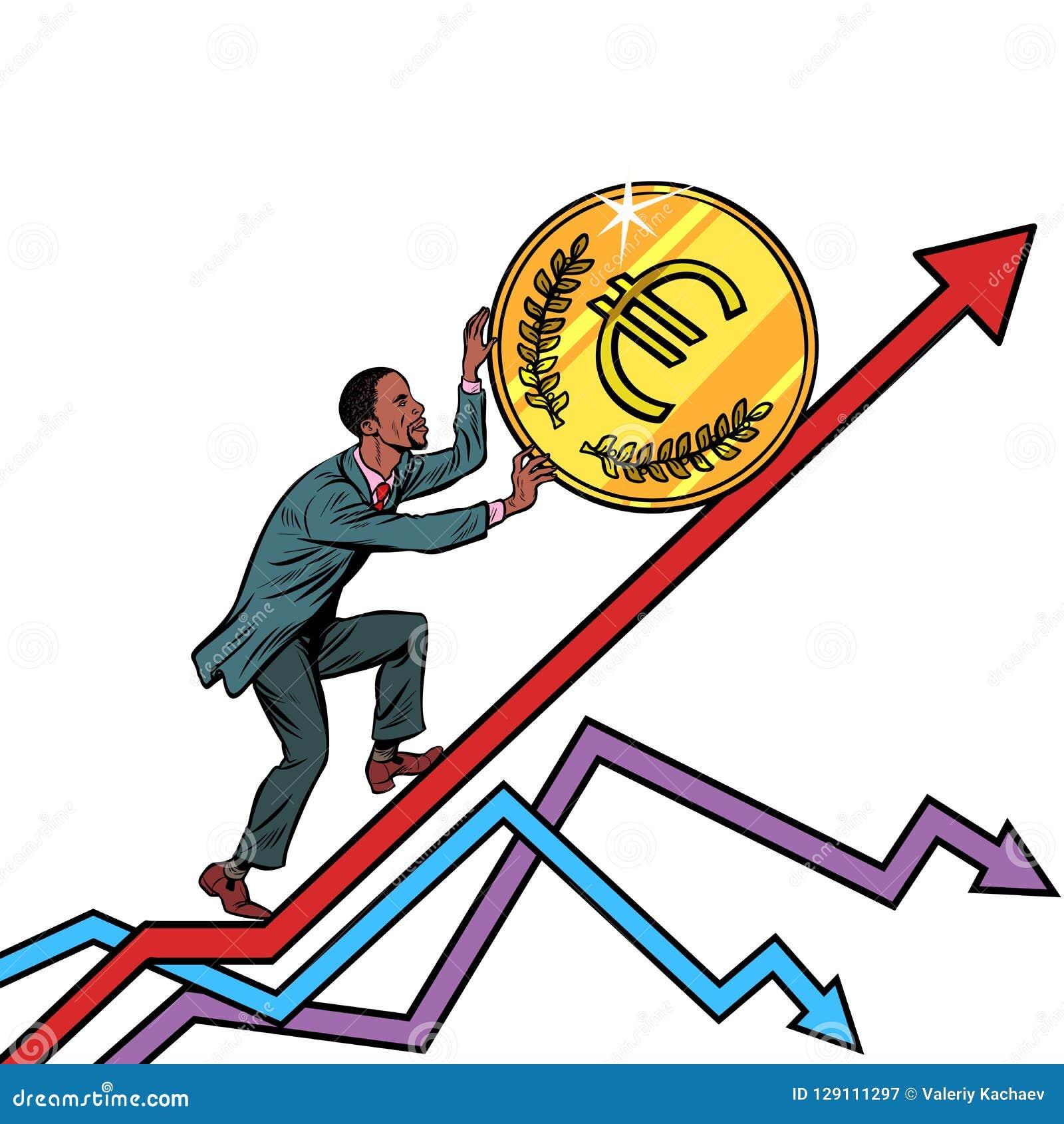 Афро-американский крен человека монетка евро вверх