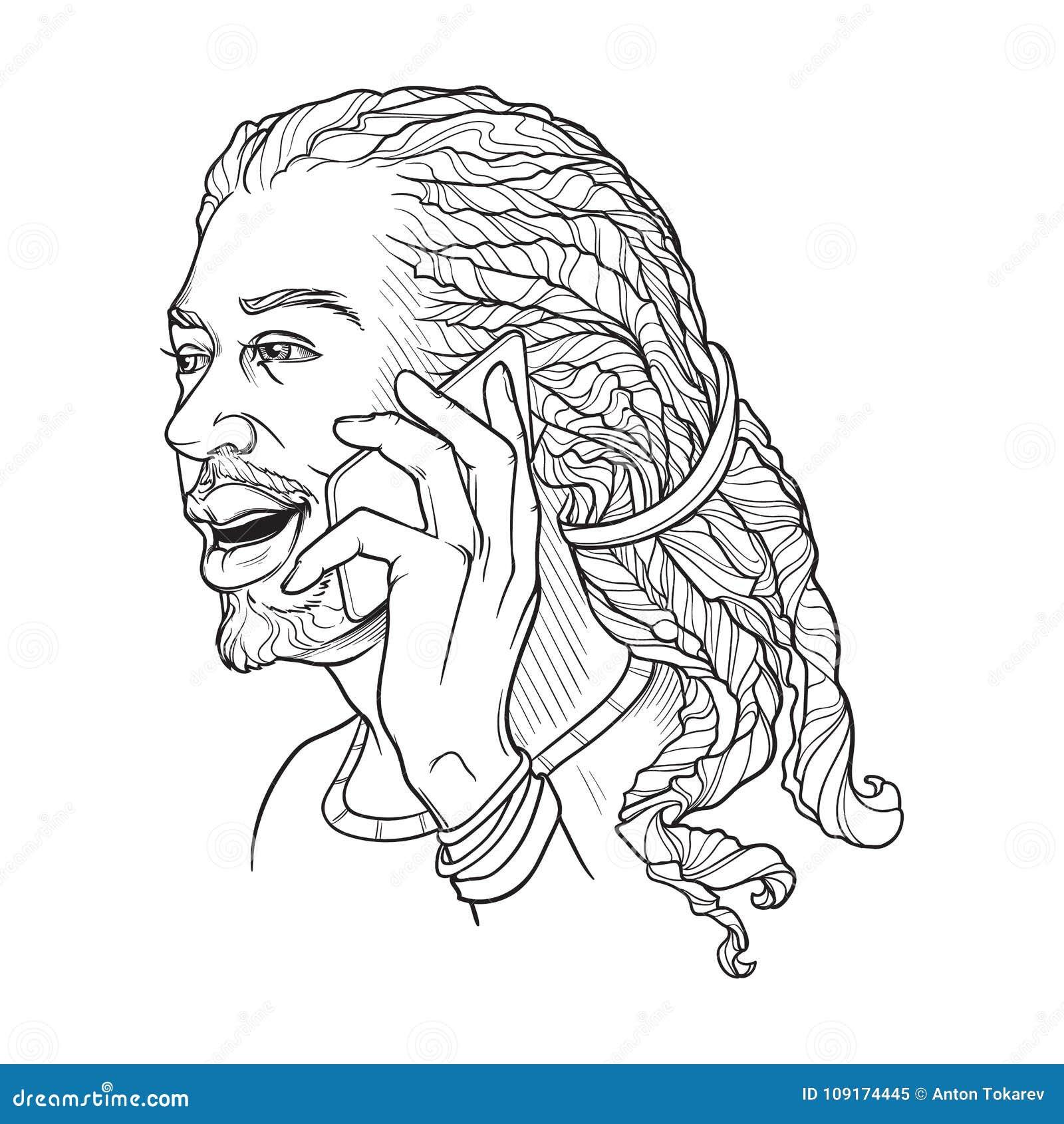Афро-американский молодой человек при dreadlocks говоря на телефоне и усмехаться Черно-белым линейным n изолированный эскизом