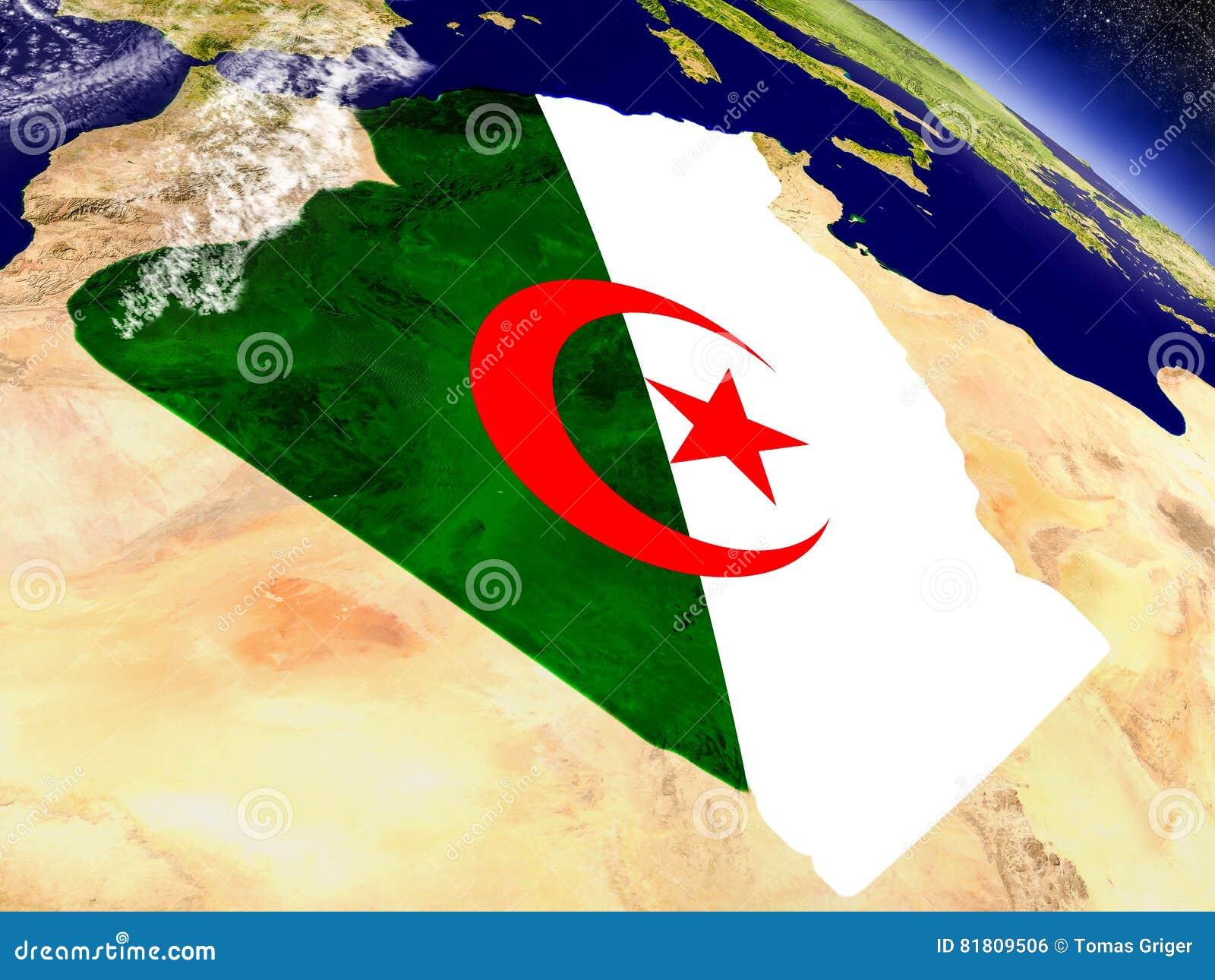 Алжир с врезанным флагом на земле