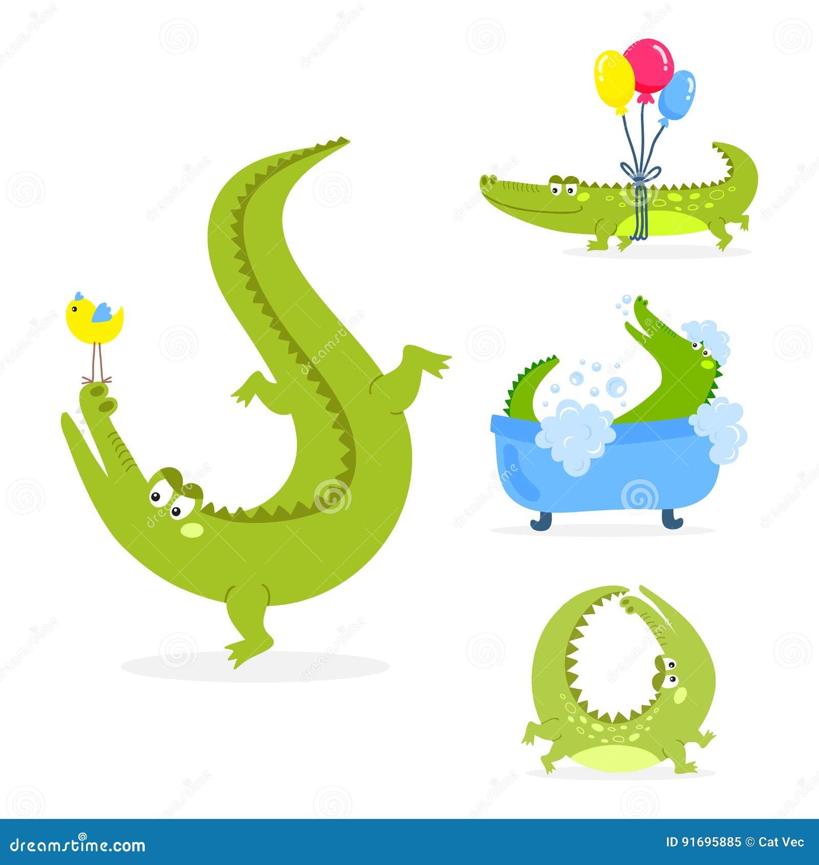 Аллигатора гада реки живой природы хищника крокодила шаржа иллюстрация вектора зеленого смешного австралийского плоская