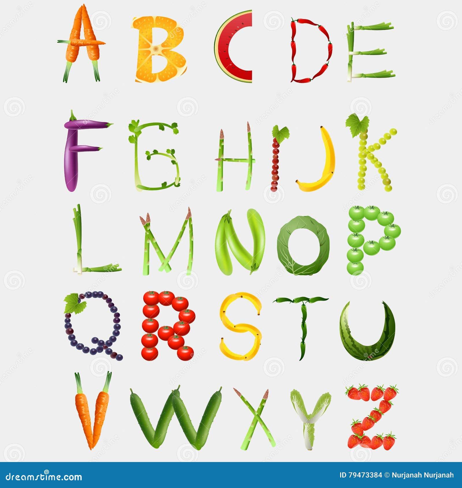 Алфавит еды сделанный из овощей и плодоовощей