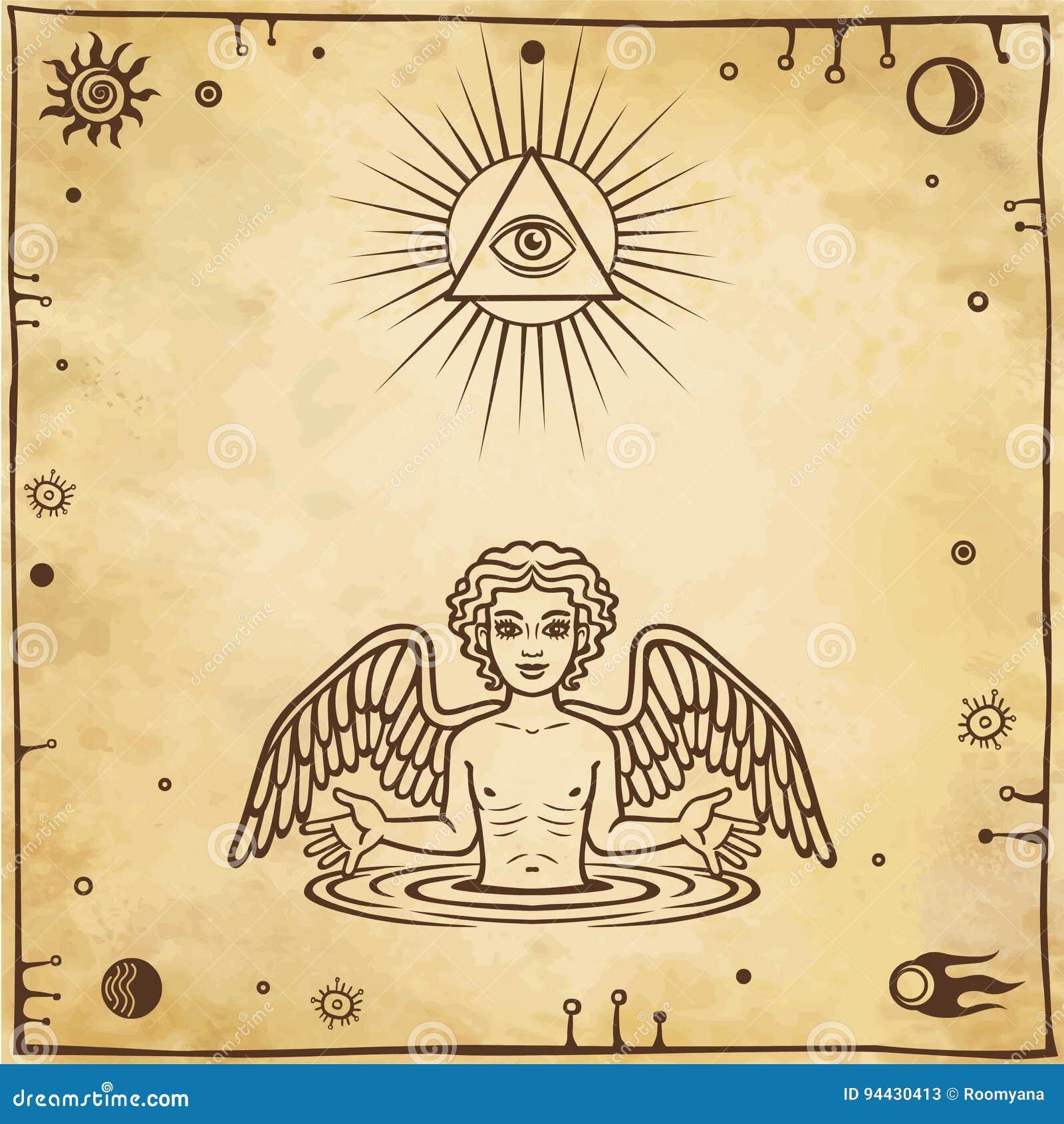 Алхимический чертеж: меньший ангел появляется от воды Эзотерический, мистический, оккультизм