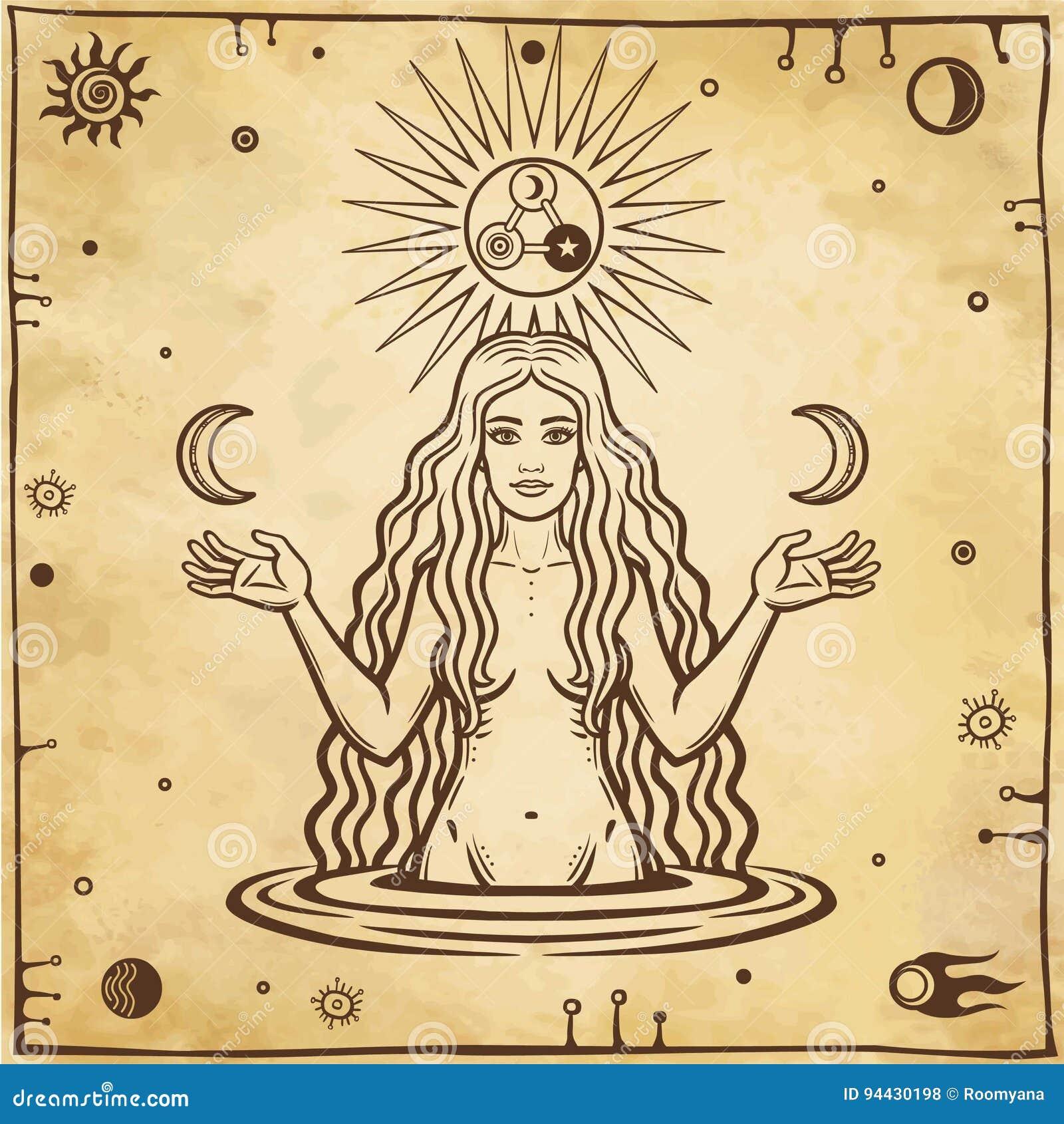 Алхимический чертеж: молодая красивая женщина держит луны в руке