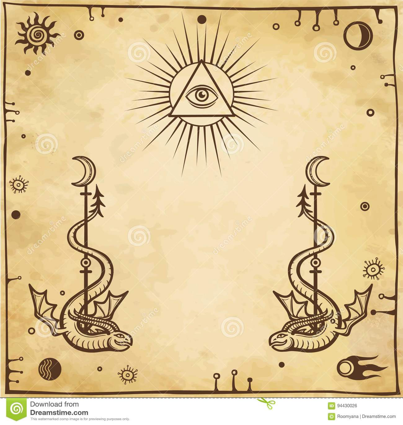 Алхимический чертеж: подогнали змейки, всевидящее око