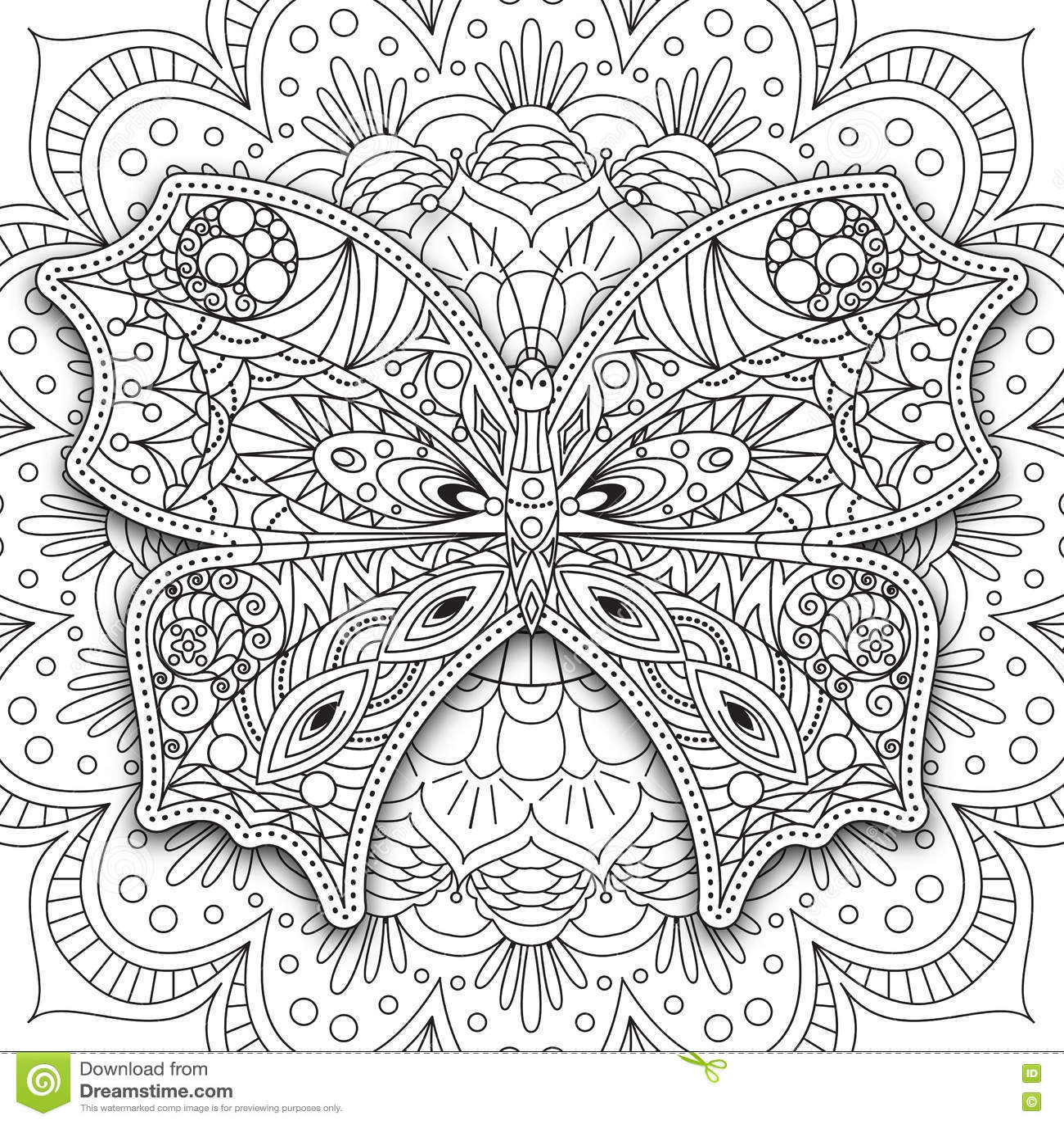 бабочка вручите вычерченный этнический Printable вектор в