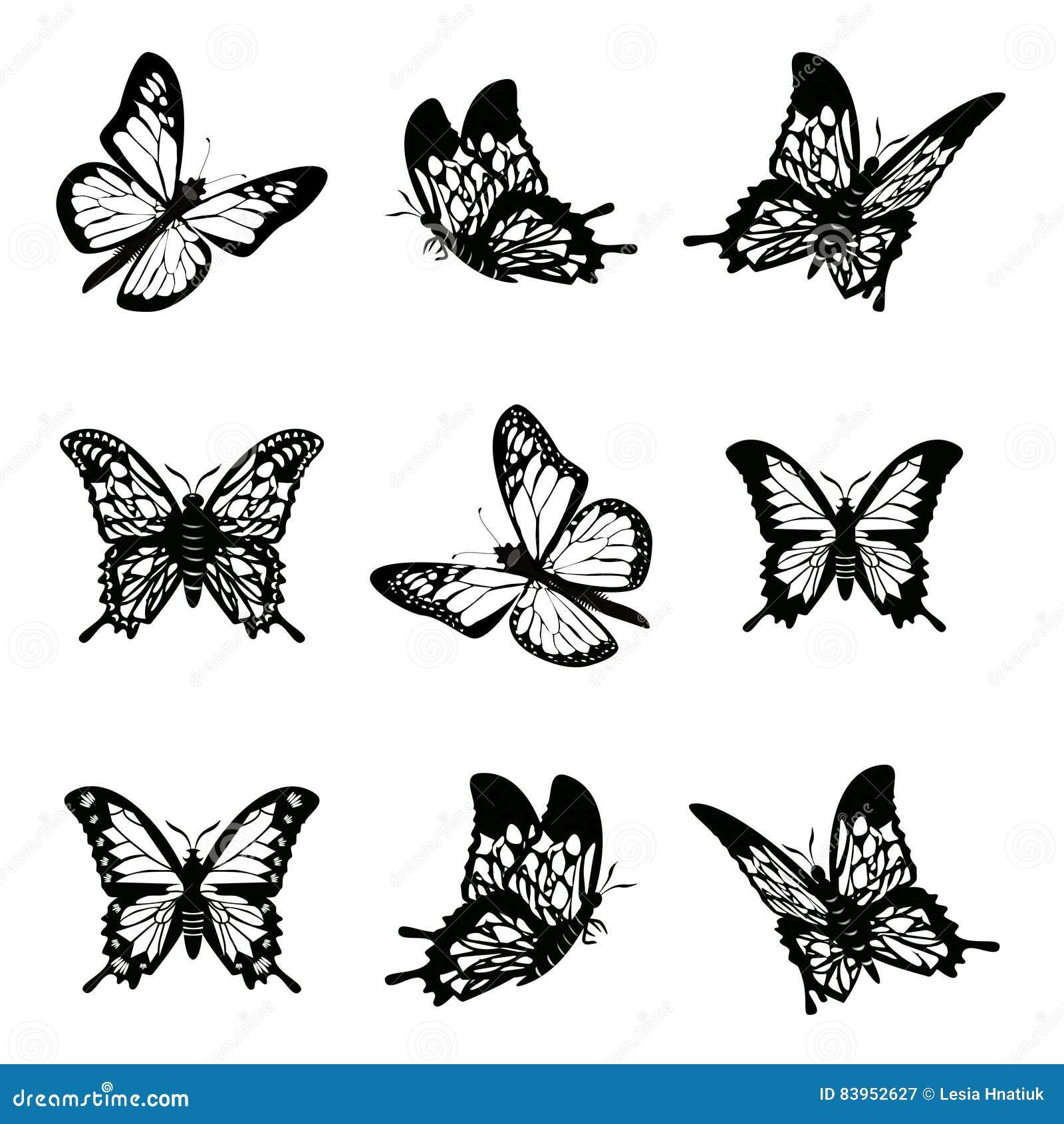 Бабочка иллюстрации вектора значка силуэта установленной