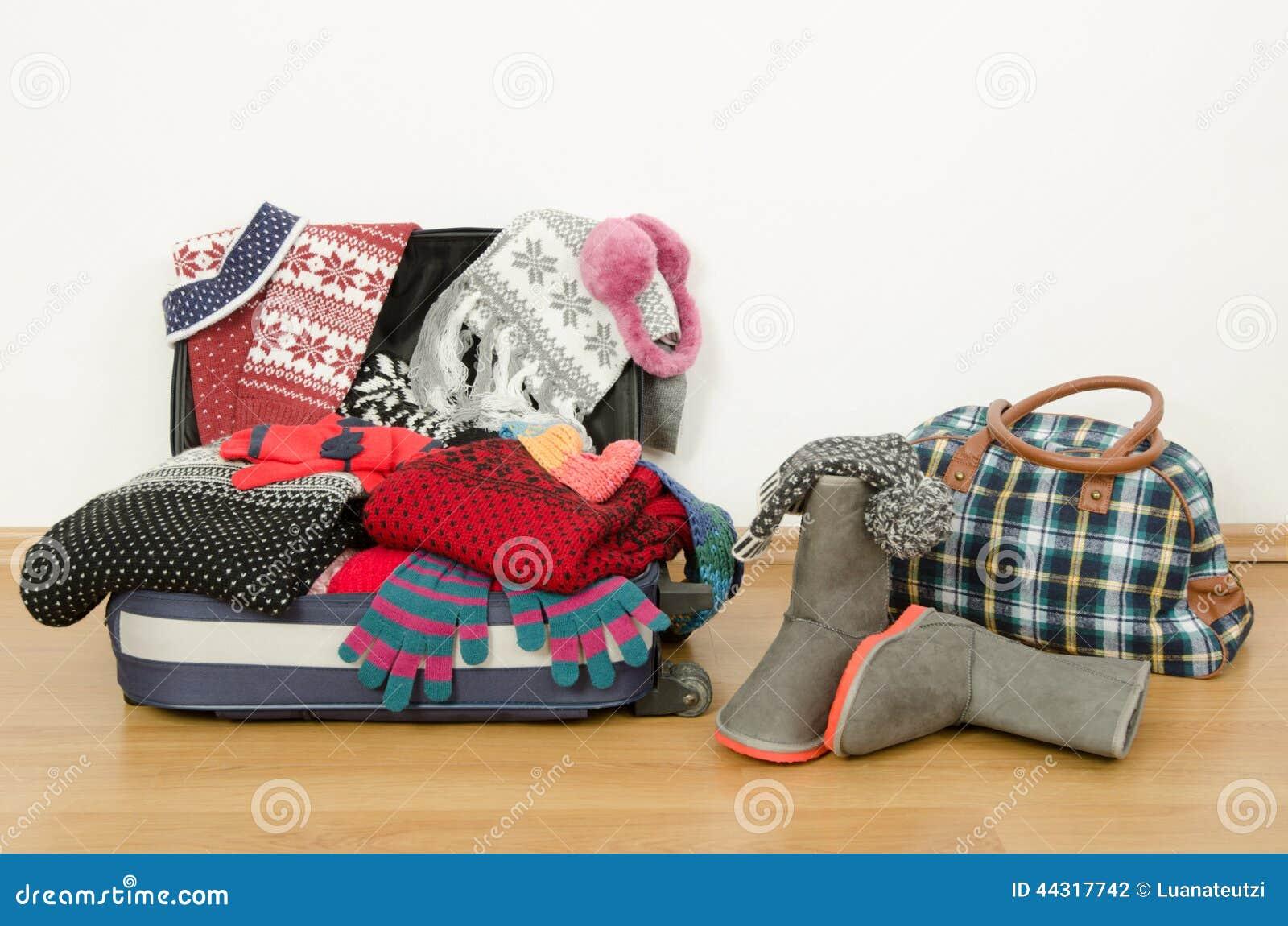 Багаж зимы Чемодан вполне вянет одежды