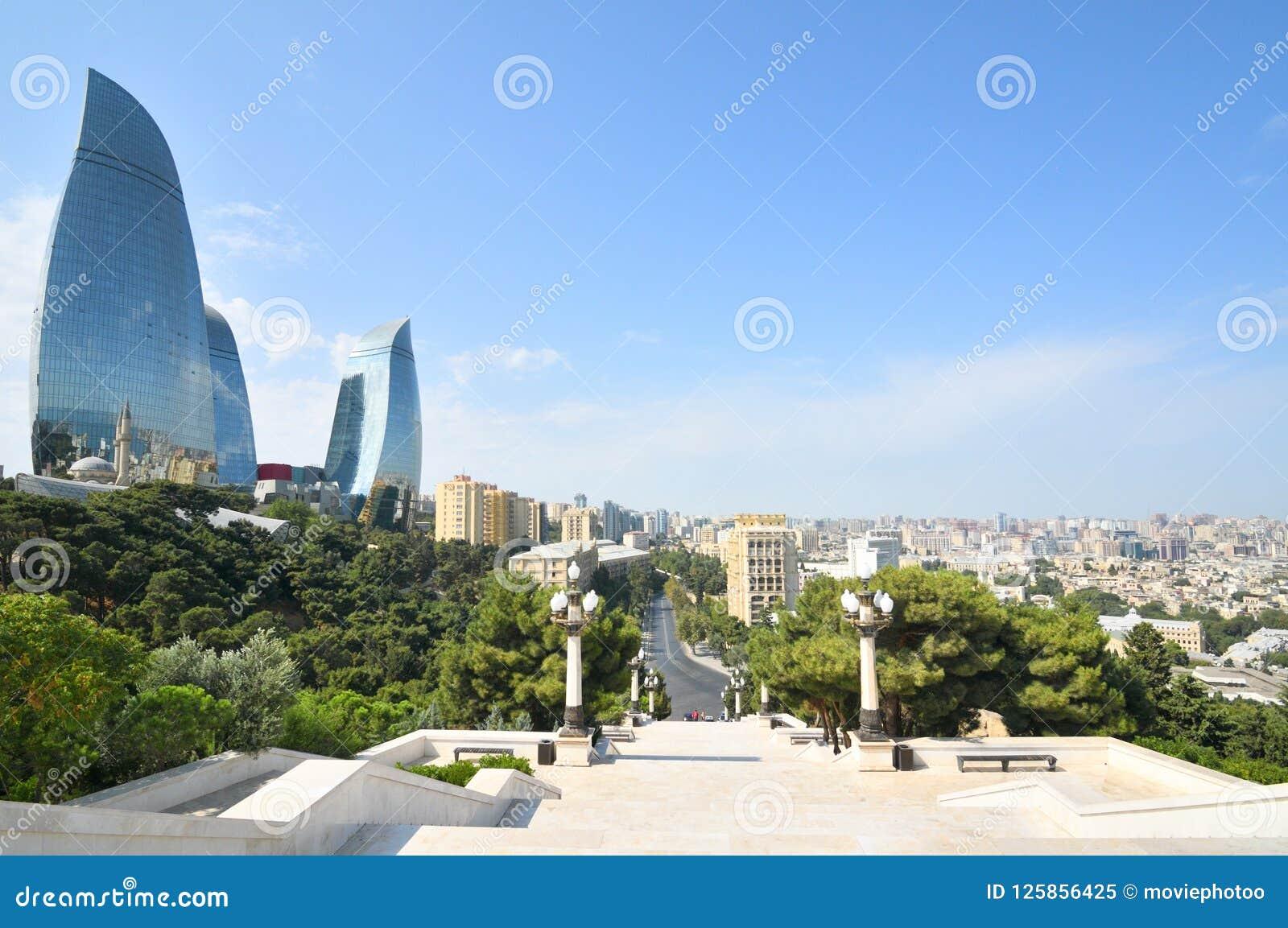 Баку, панорамный взгляд от парка горы