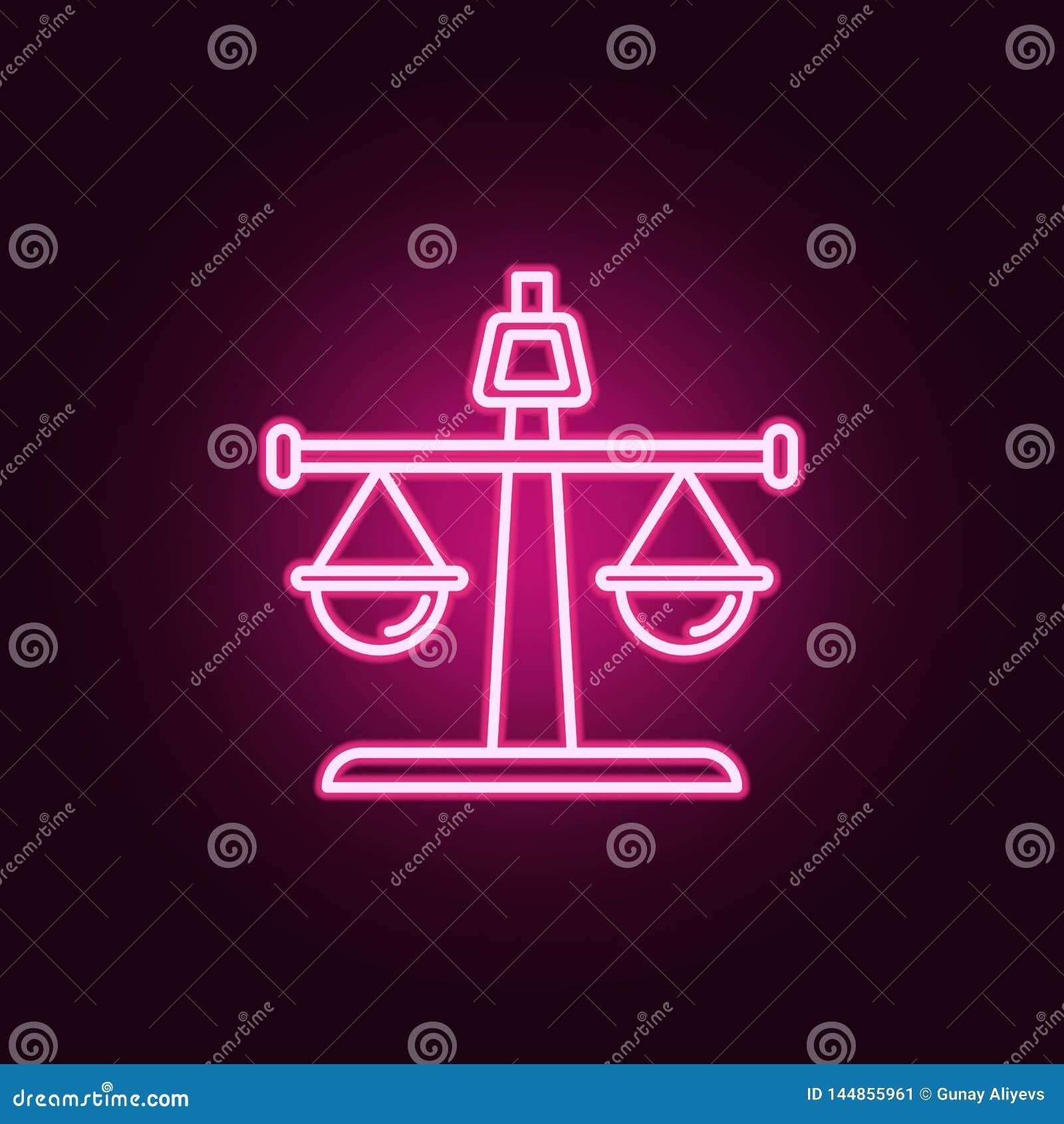 Баланс, прямой неоновый значок Элементы набора закона & правосудия r