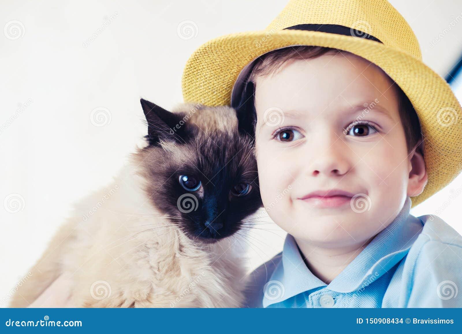 Балиец ребенка кота совместно сыграть забота приятельства