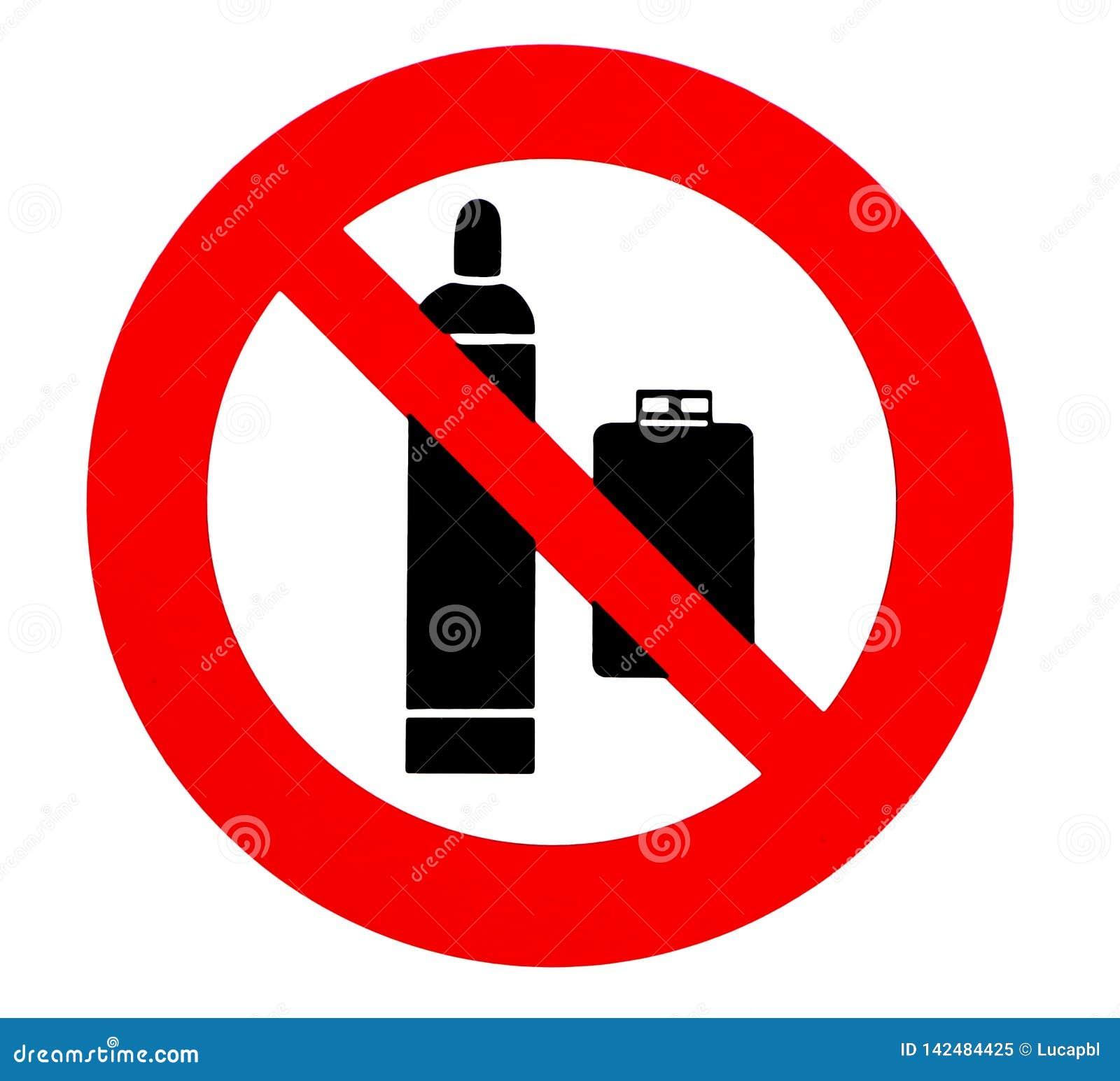 Баллоны пропана не позволены Знак запрета и безопасности,