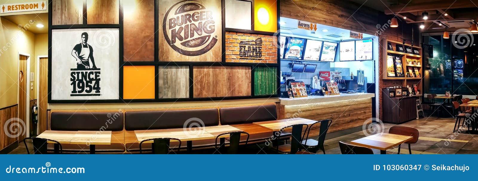 БАНГКОК, ТАИЛАНД - 23-ЬЕ ОКТЯБРЯ: Пустое stor фаст-фуда Burger King