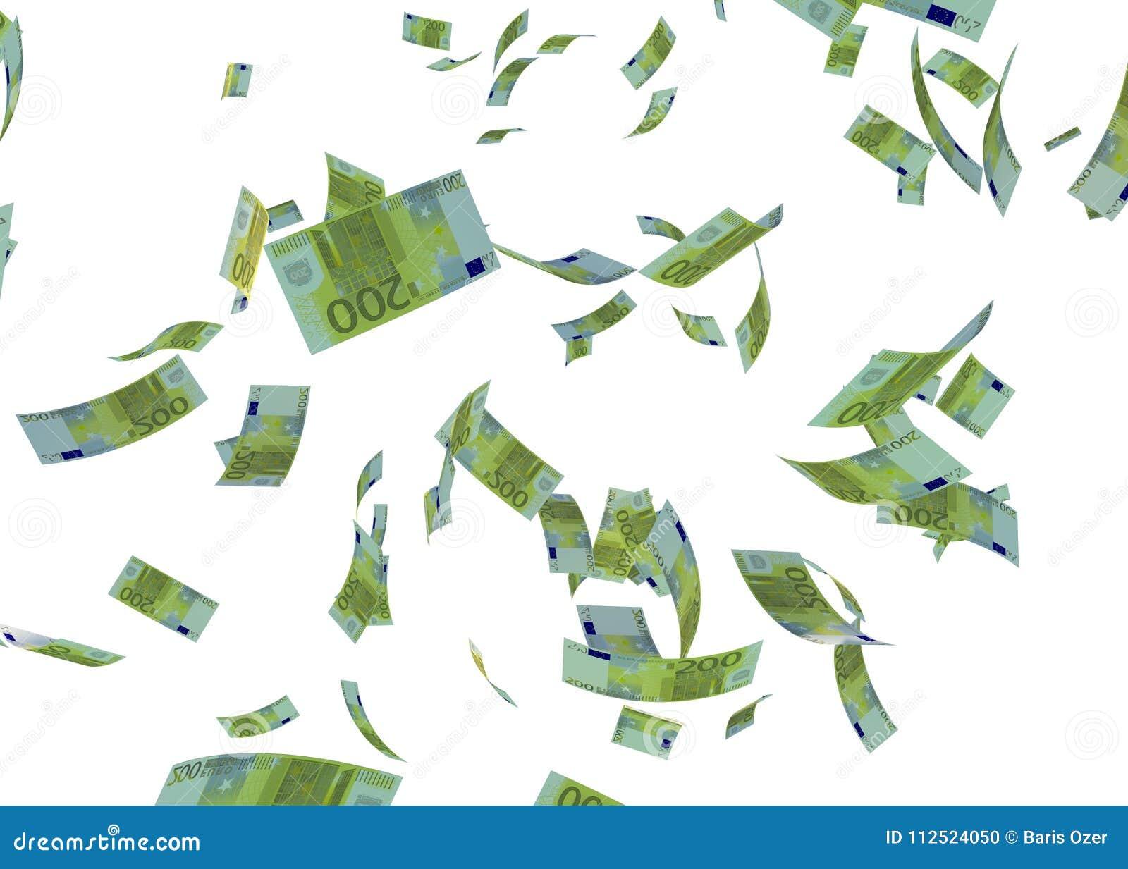 Банкнота 3d евро Faling представляет на белизне