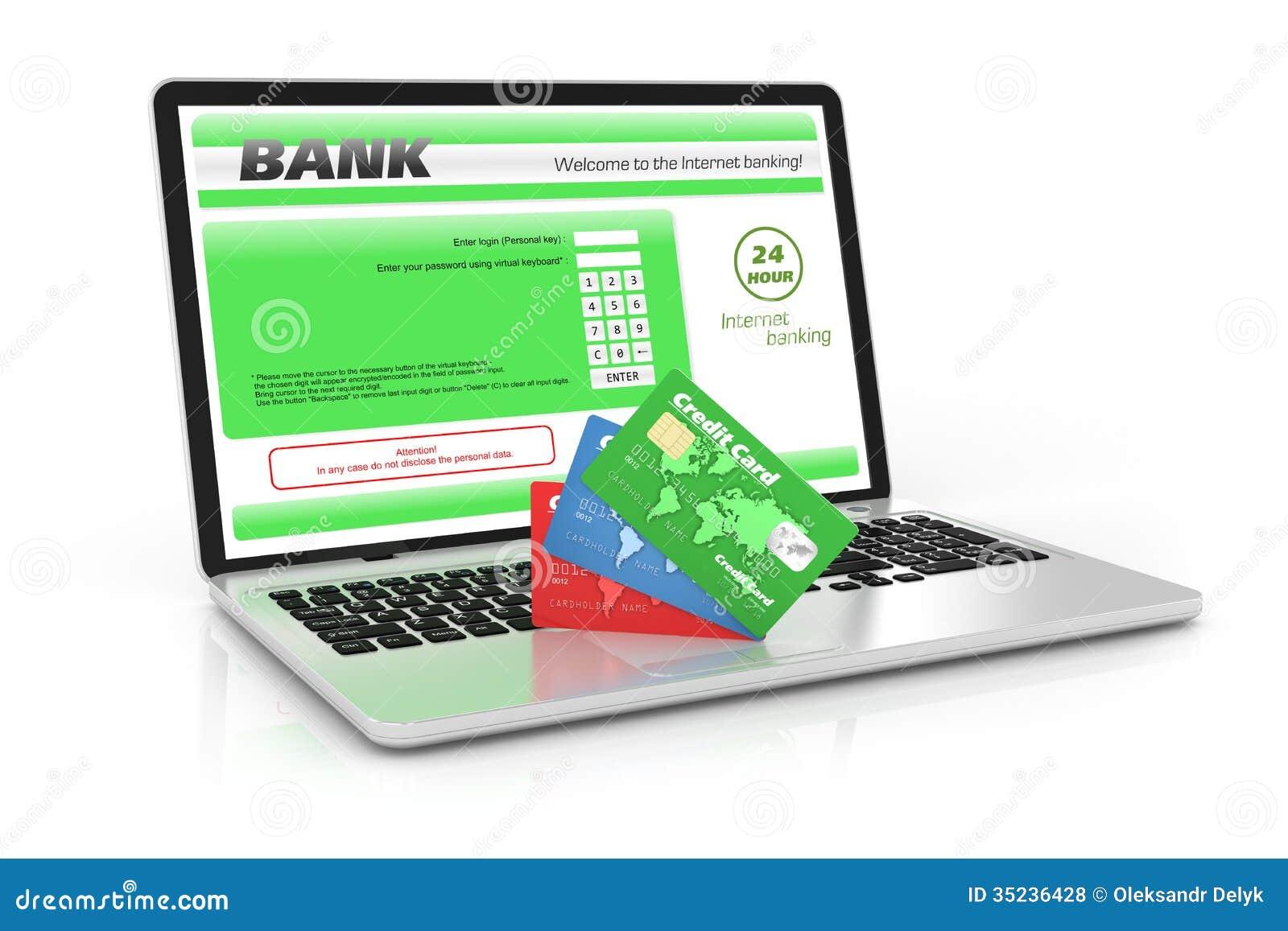 Банковское обслуживание интернета. Компьтер-книжка и кредитные карточки