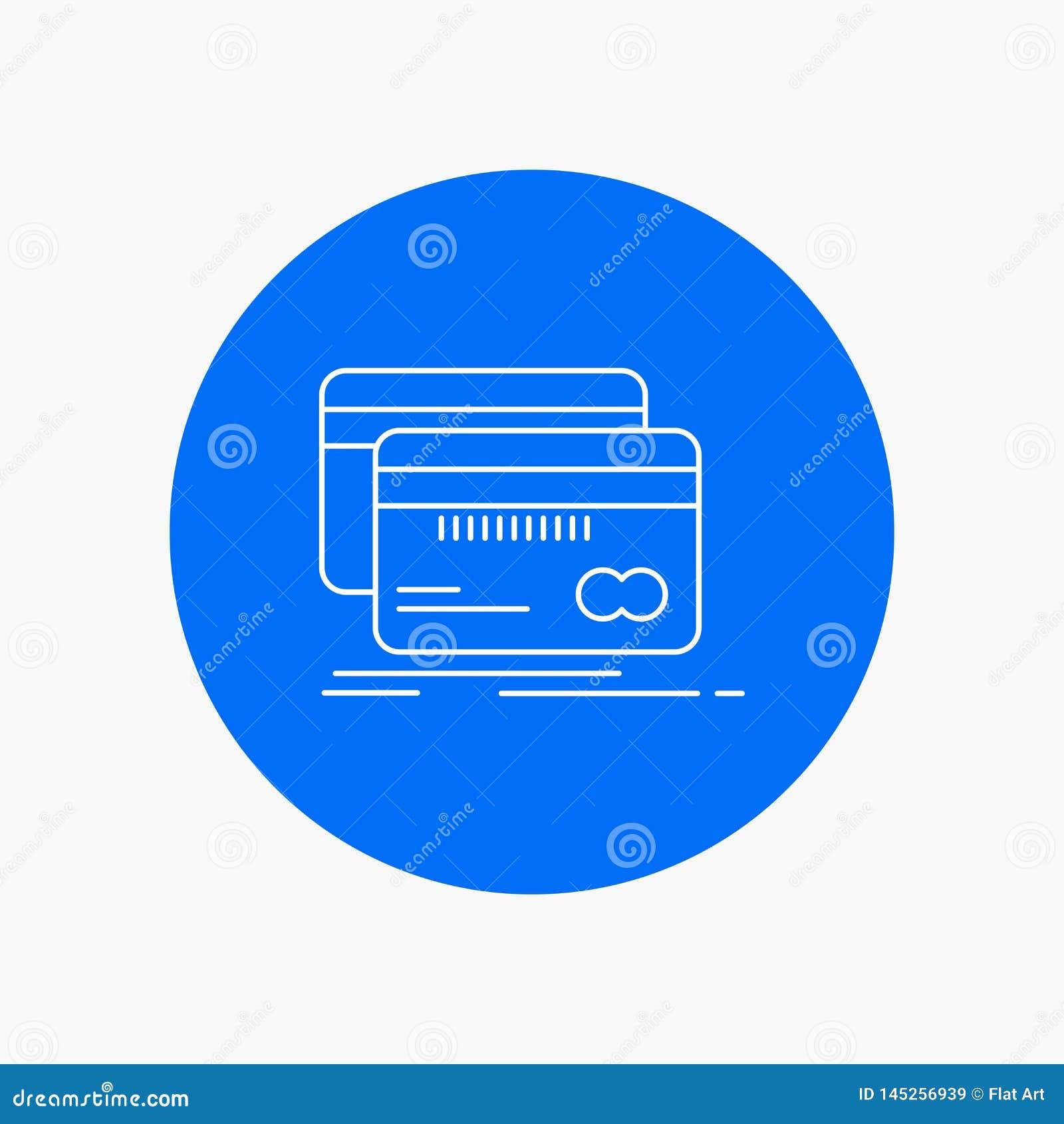 Банк, карта, кредит, дебит, линия значок финансов белая в предпосылке круга r