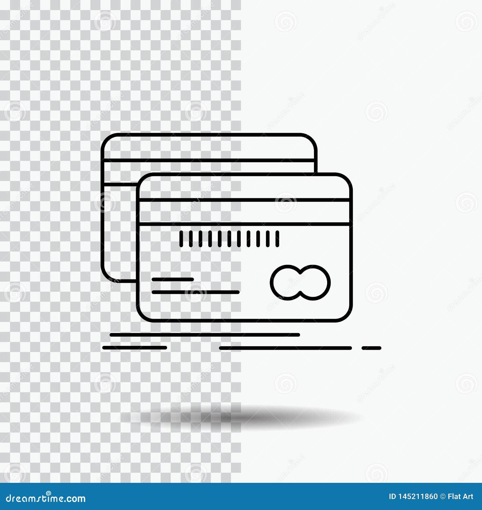 Банк, карта, кредит, дебит, линия значок финансов на прозрачной предпосылке Черная иллюстрация вектора значка