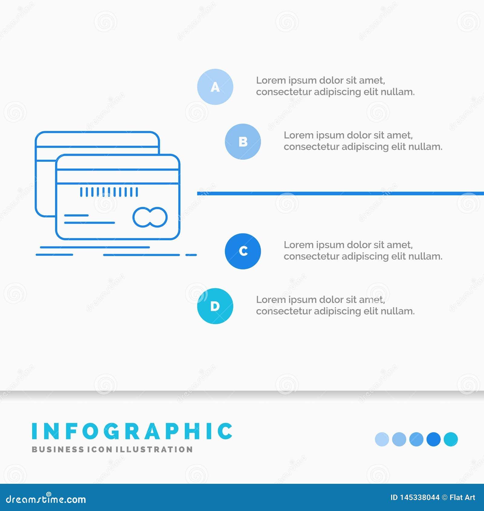 Банк, карта, кредит, дебит, шаблон Infographics финансов для вебсайта и представление Линия вектор стиля голубого значка infograp