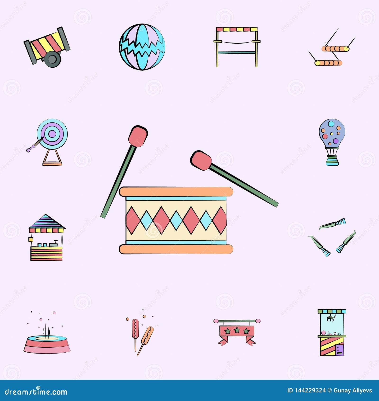 барабанчик с палочками покрасил значок набор значков цирка всеобщий для сети и черни