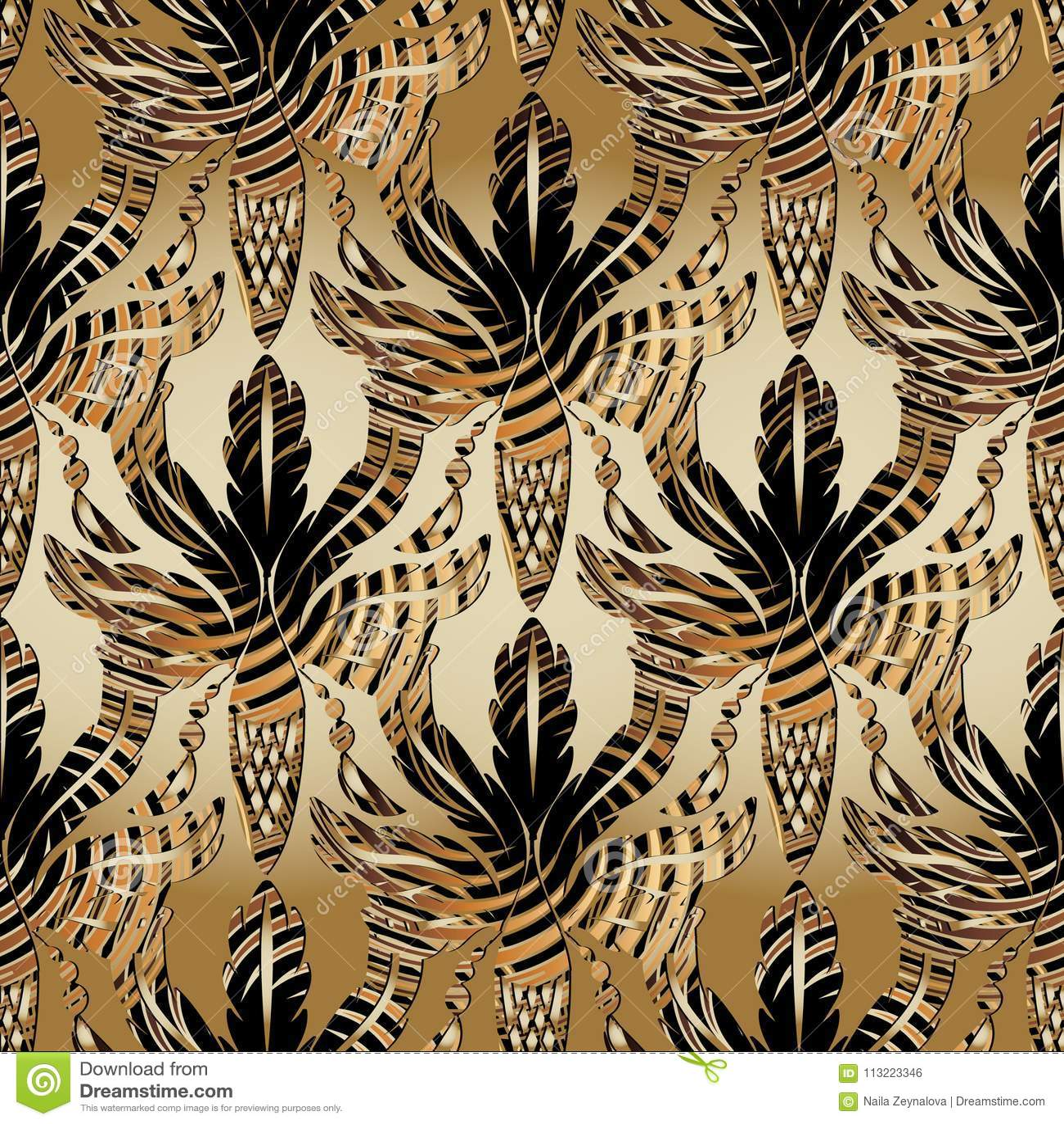барочная картина листьев и жолудей дуба 3d безшовная Antiqu вектора