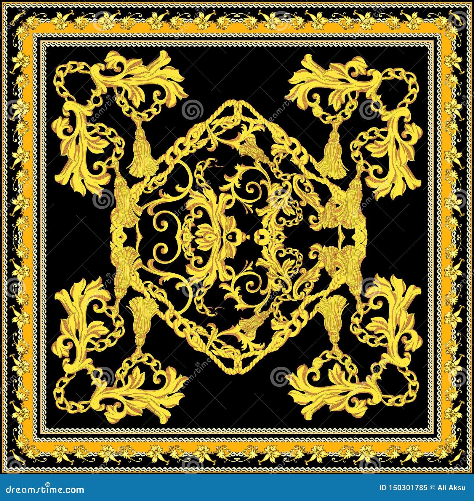 Барочный с дизайном шарфа золота