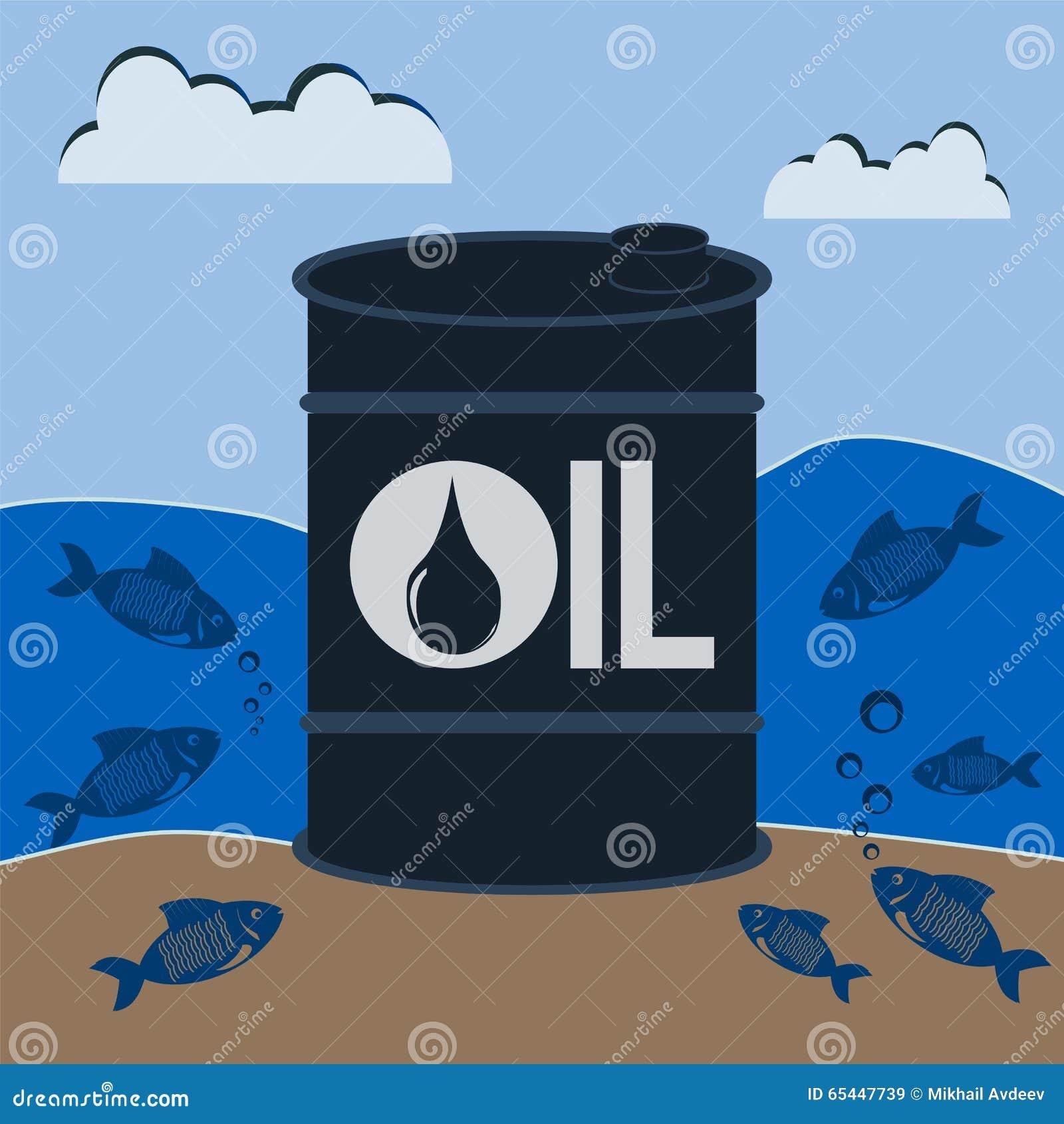 Баррель нефти подводный с рыбами