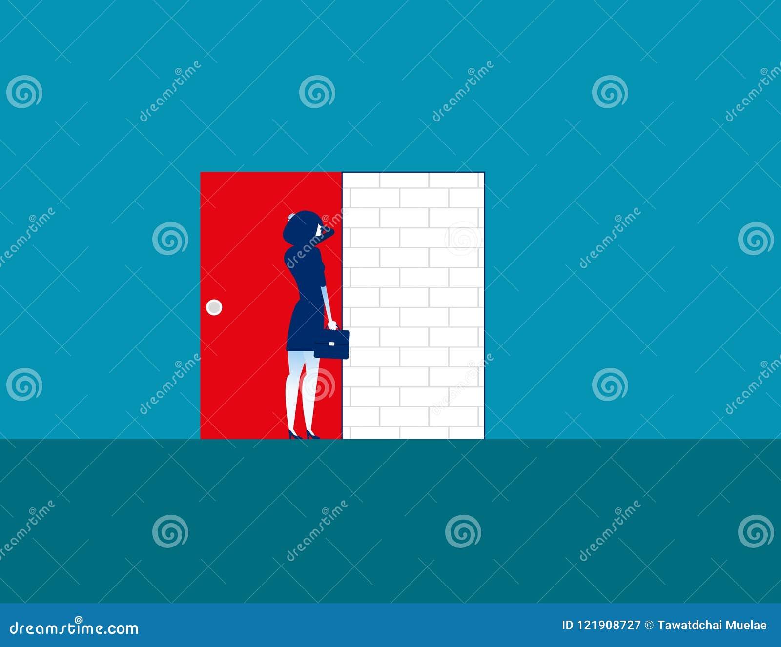 баррикад Коммерсантка с кирпичной стеной Вектор дела концепции