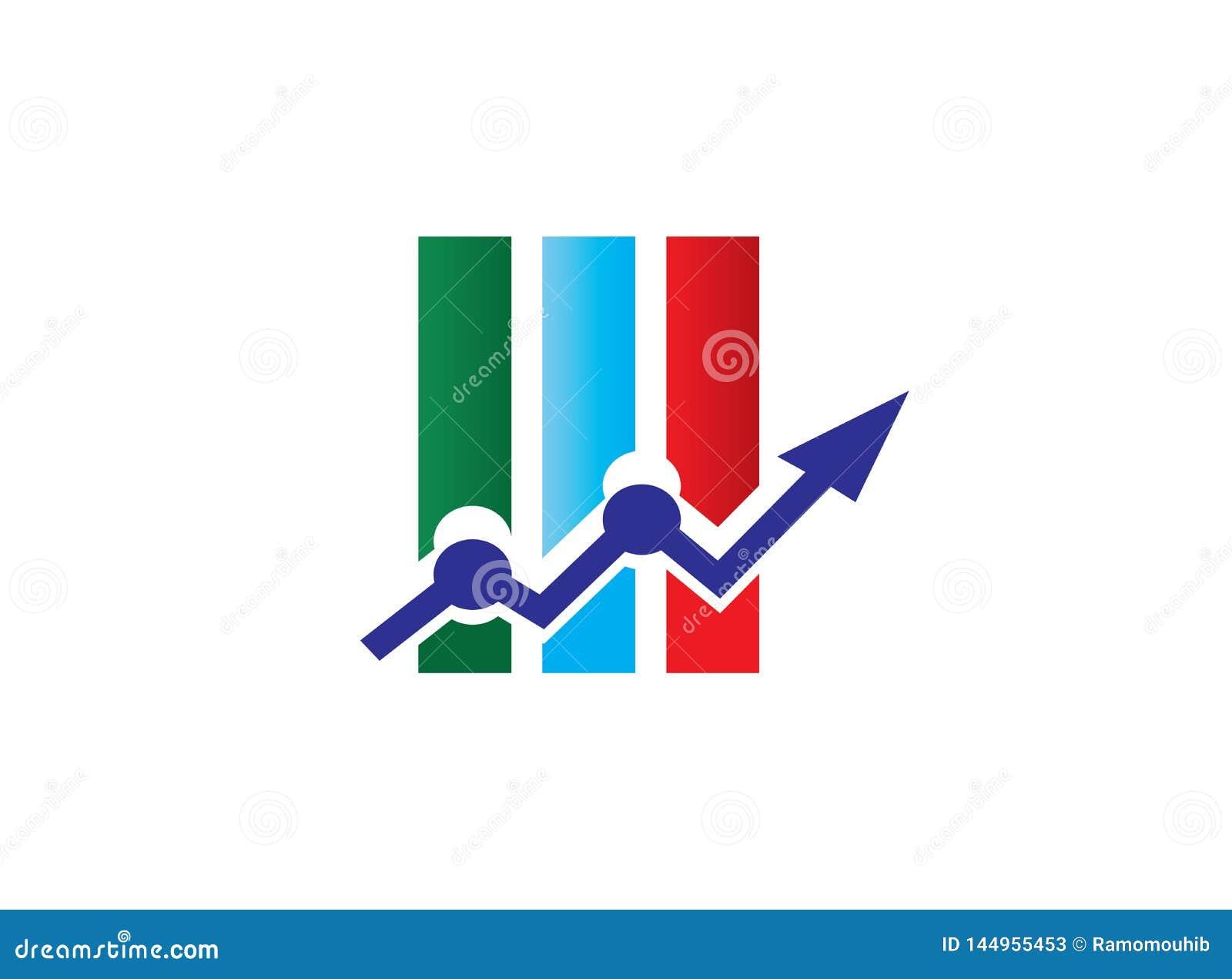 Бар диаграммы со стрелкой для статистики и торгуя рынком для иллюстра