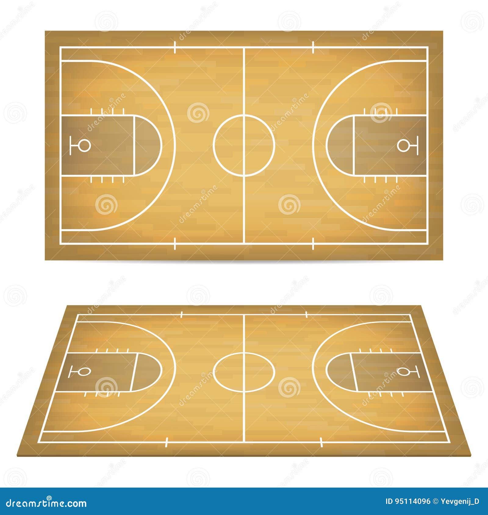 Баскетбольная площадка с деревянным полом Взгляд сверху и перспектива, равновеликий взгляд