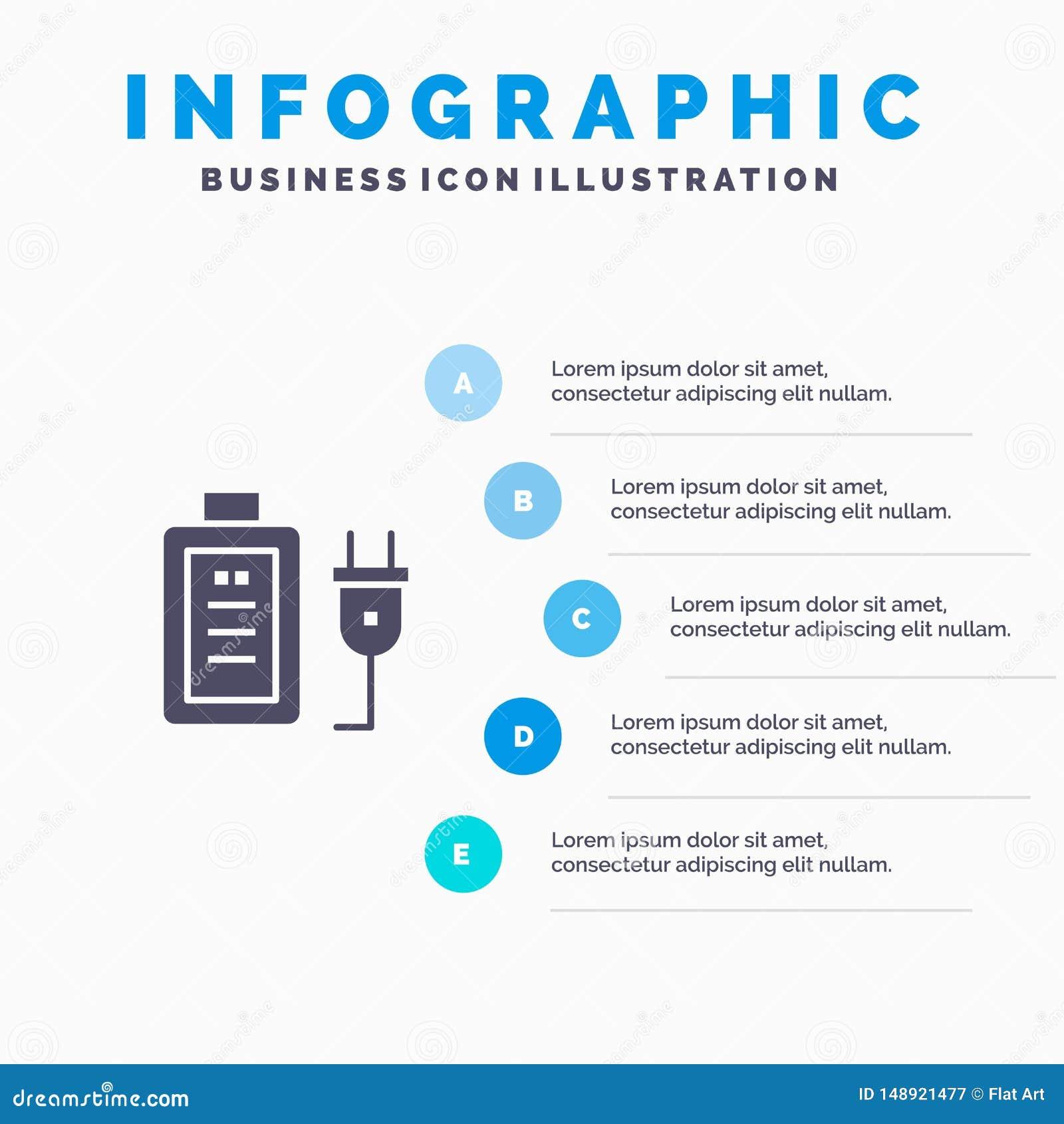 Батарея, обязанность, штепсельная вилка, шаблон представления Infographics образования Представление 5 шагов