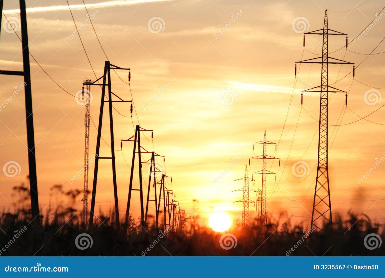 башни захода солнца электричества