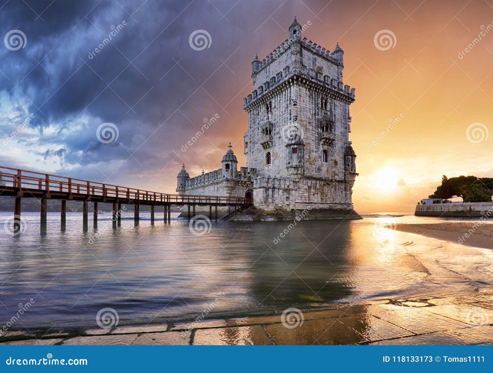 Башня на заходе солнца, Лиссабон - Португалия Лиссабона, Belem