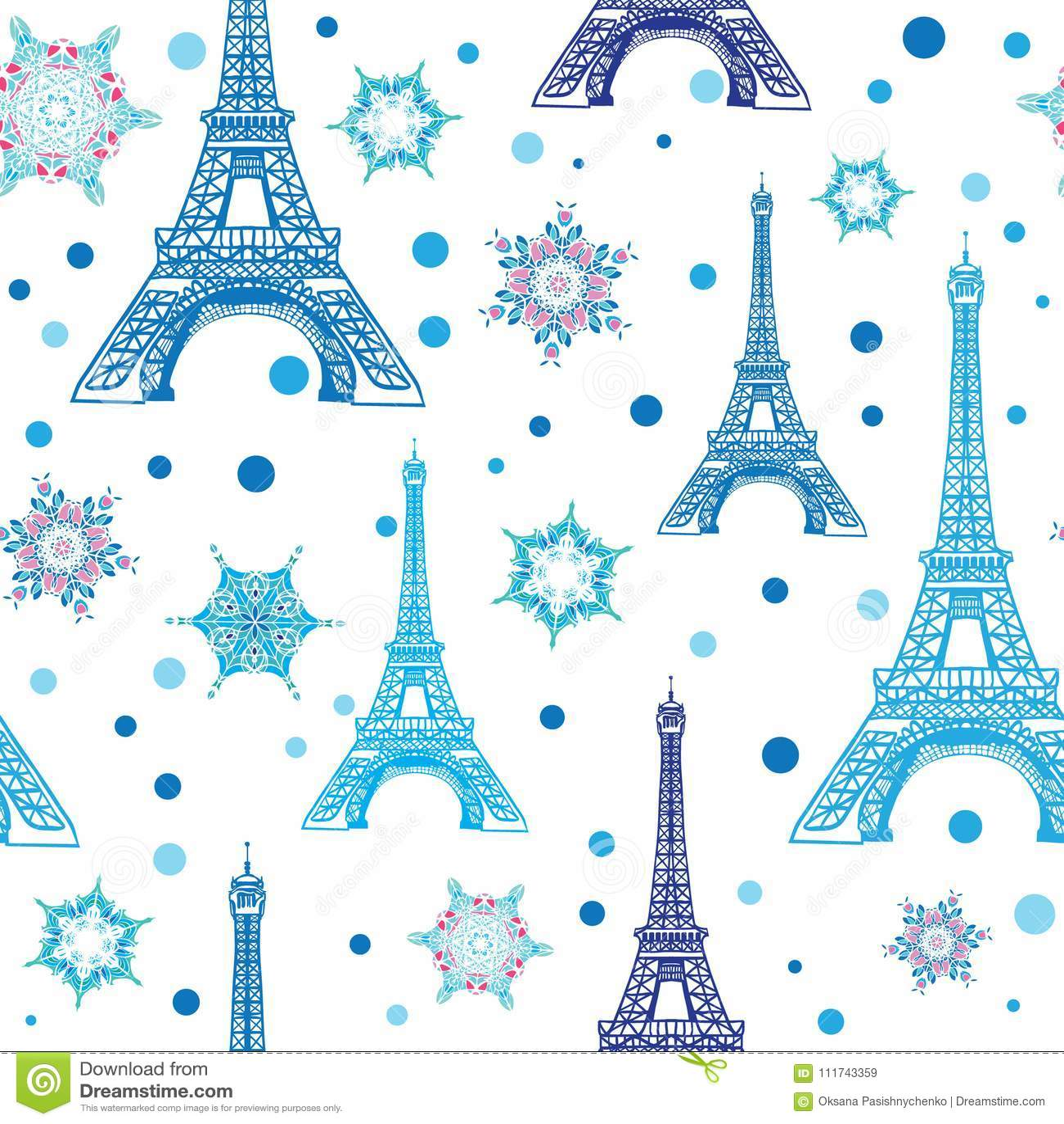 Башня Париж Eifel вектора голубая белая и картина повторения снежинок безшовная Улучшите для открыток перемещения праздника темат
