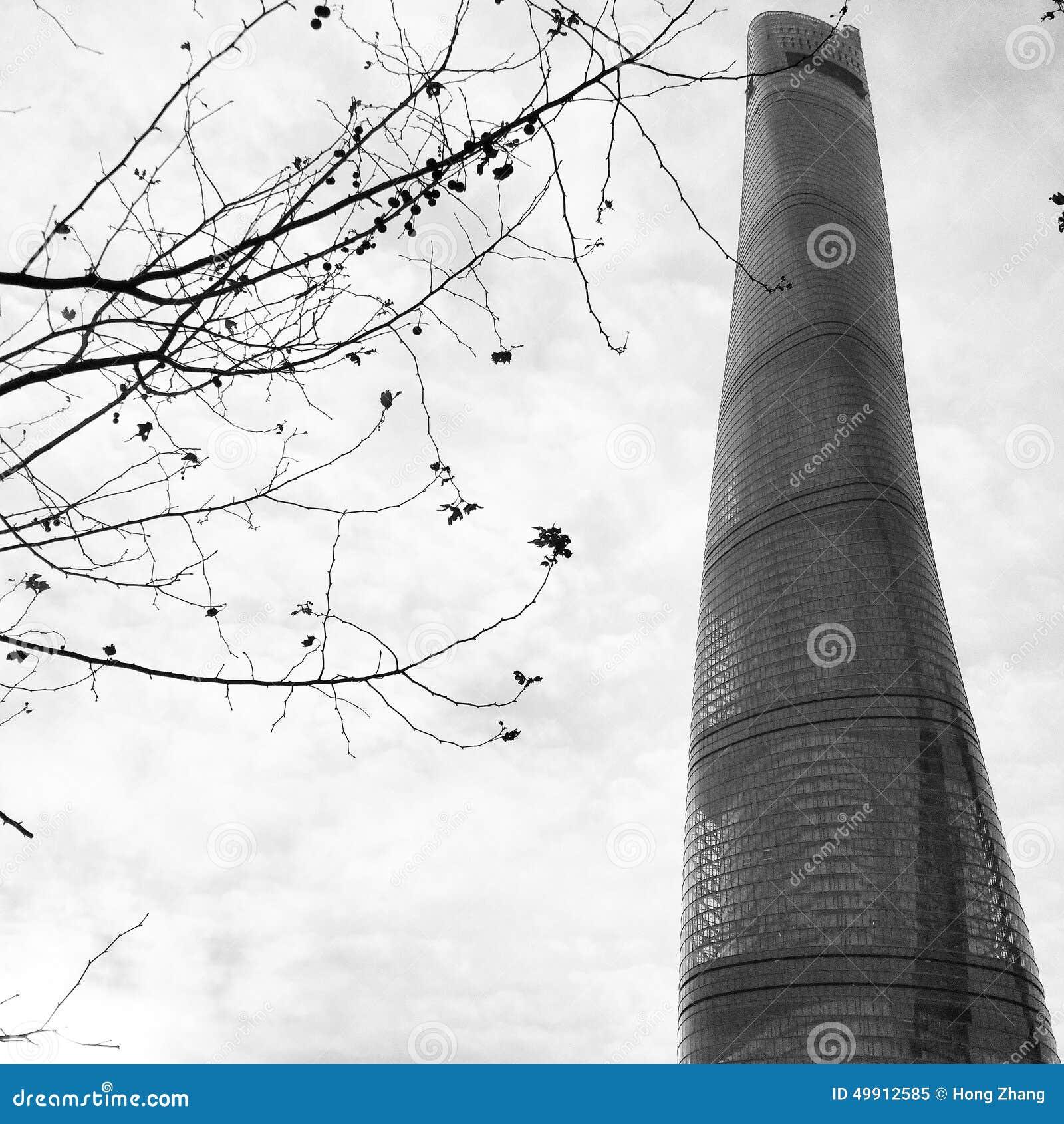 Башня Шанхая в зиме