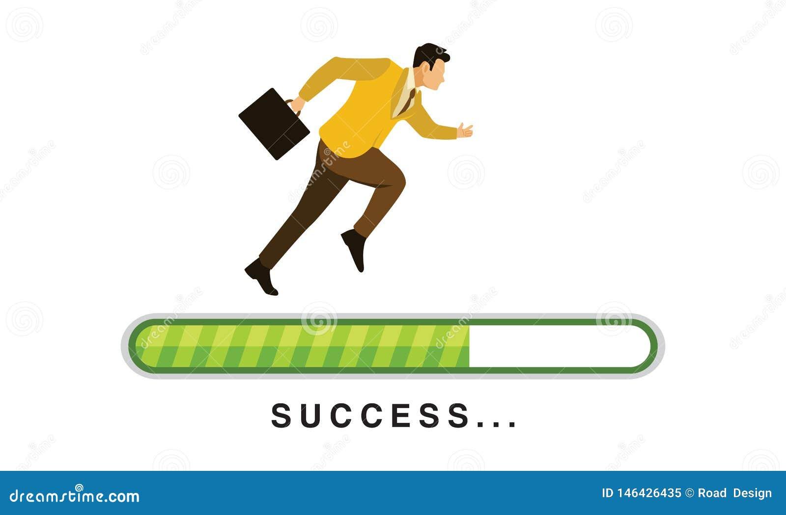 Бег бизнесмена на зеленой Адвокатуре загрузки прогресса с иллюстрацией вектора текста успеха