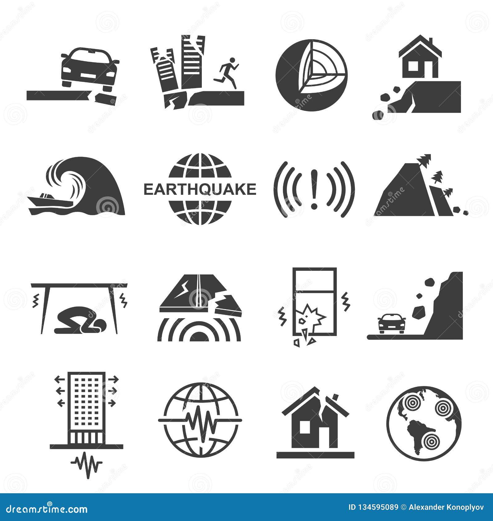 Бедствие цунами землетрясения и набор значка разрушения черный