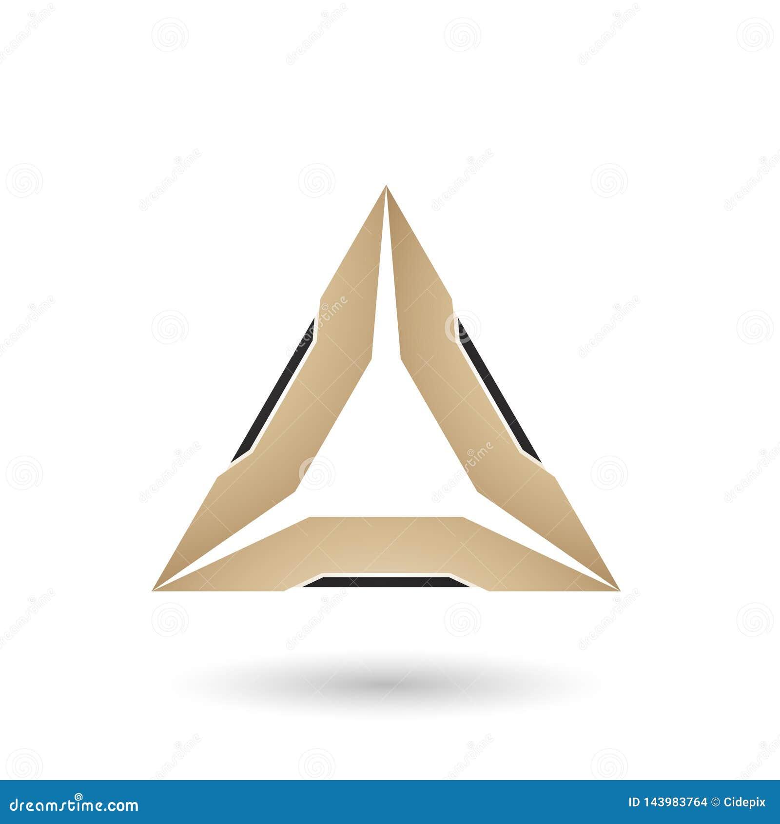Бежевый треугольник с иллюстрацией вектора черных кромок