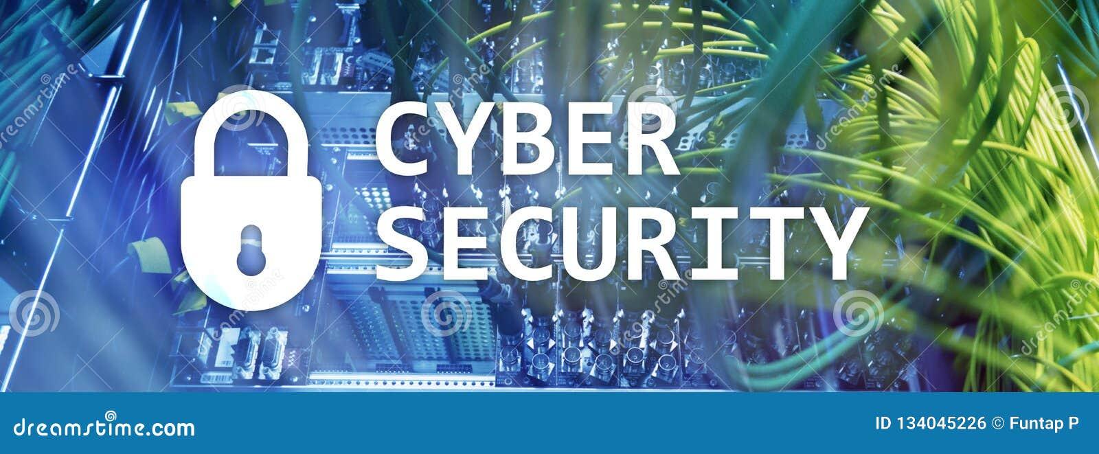 Безопасность кибер, защита данных, уединение информации Интернет и концепция технологии