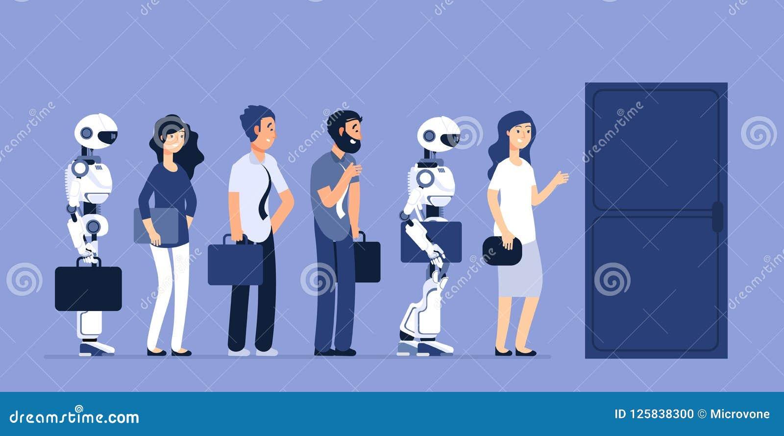Безработица роботов и людей Конкуренция андроида и человека для работы Концепция вектора рекрутства