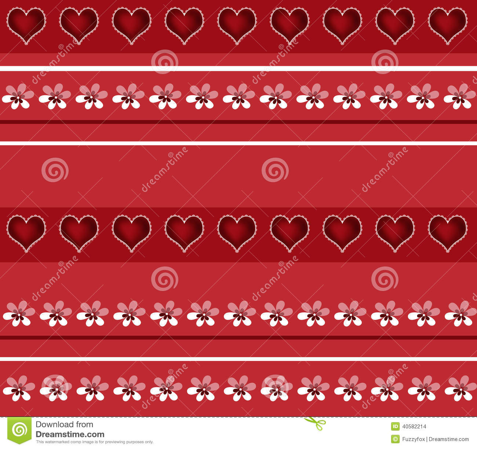 Безшовная белая картина флористических и сердец на красном цвете