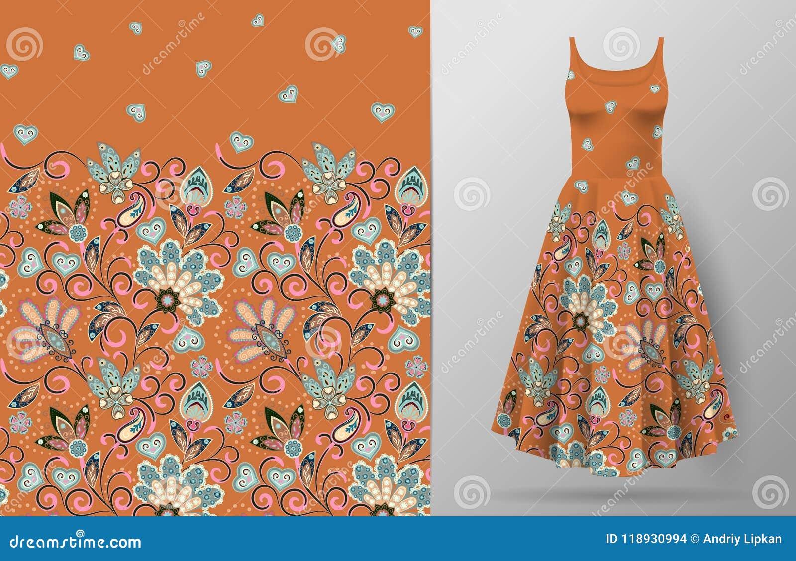 Безшовная вертикальная картина цветков фантазии Предпосылка притяжки руки флористическая на модель-макете платья вектор Традицион