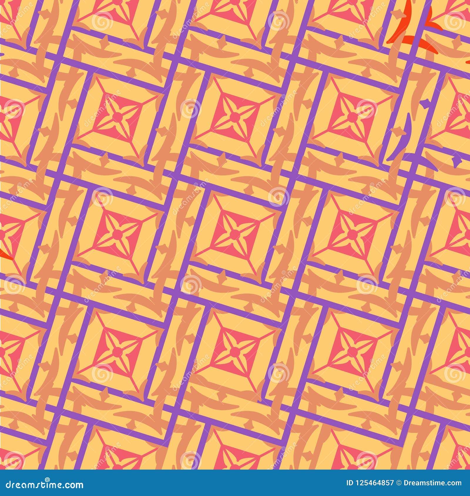 Безшовная геометрическая картина блокировать придает квадратную форму в беже с фиолетовым планом