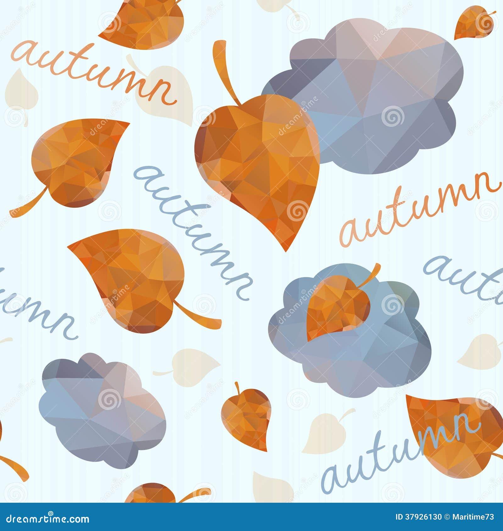 Безшовная геометрическая картина с листьями и облаками осени.