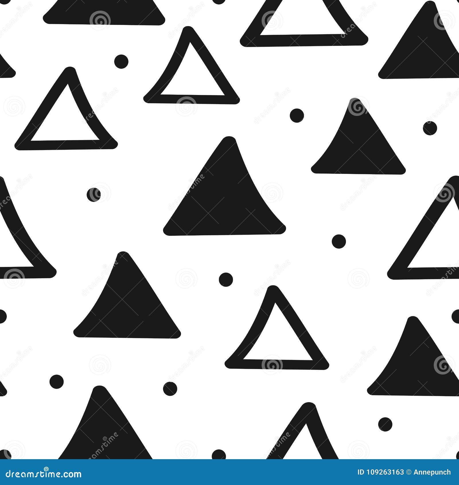 Безшовная геометрическая картина с треугольниками и круглыми точками Нарисовано вручную