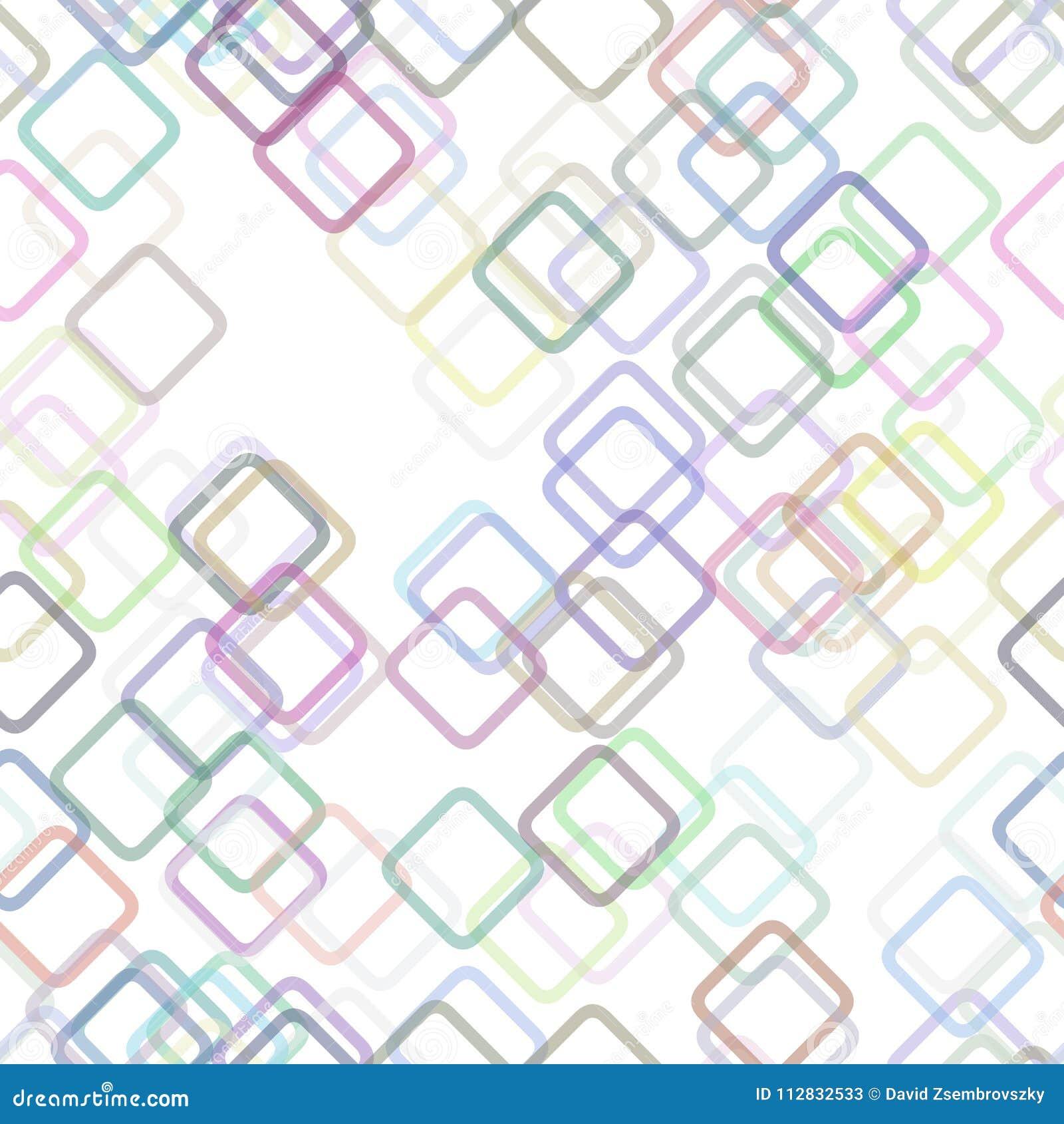 Безшовная геометрическая квадратная картина предпосылки - векторная графика от случайных раскосных квадратов с влиянием светонепр