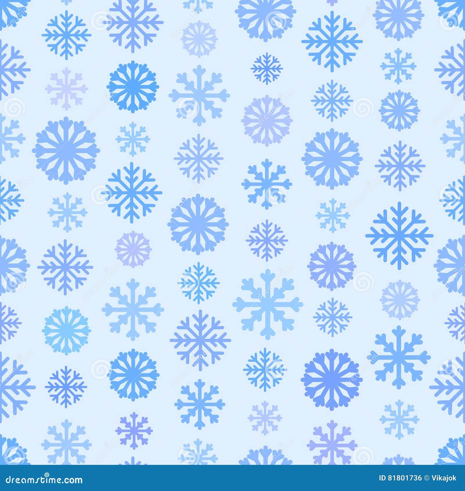 Безшовная голубая картина с снежинками, предпосылка цвета зимы простая плоская