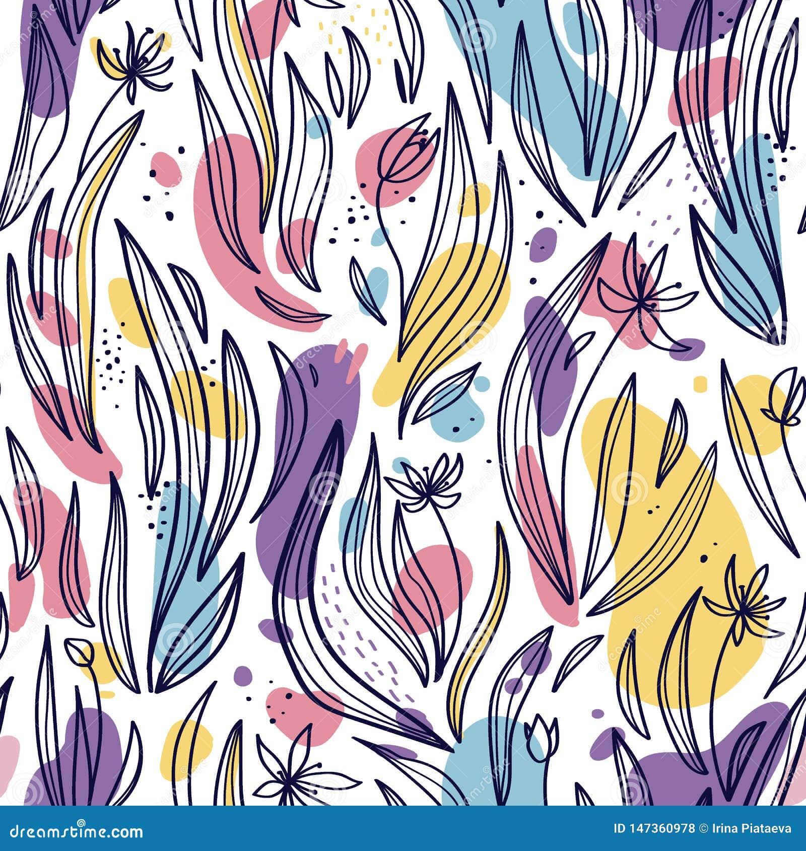 Безшовная картина абстрактных листьев, цветков и пятен на белой предпосылке