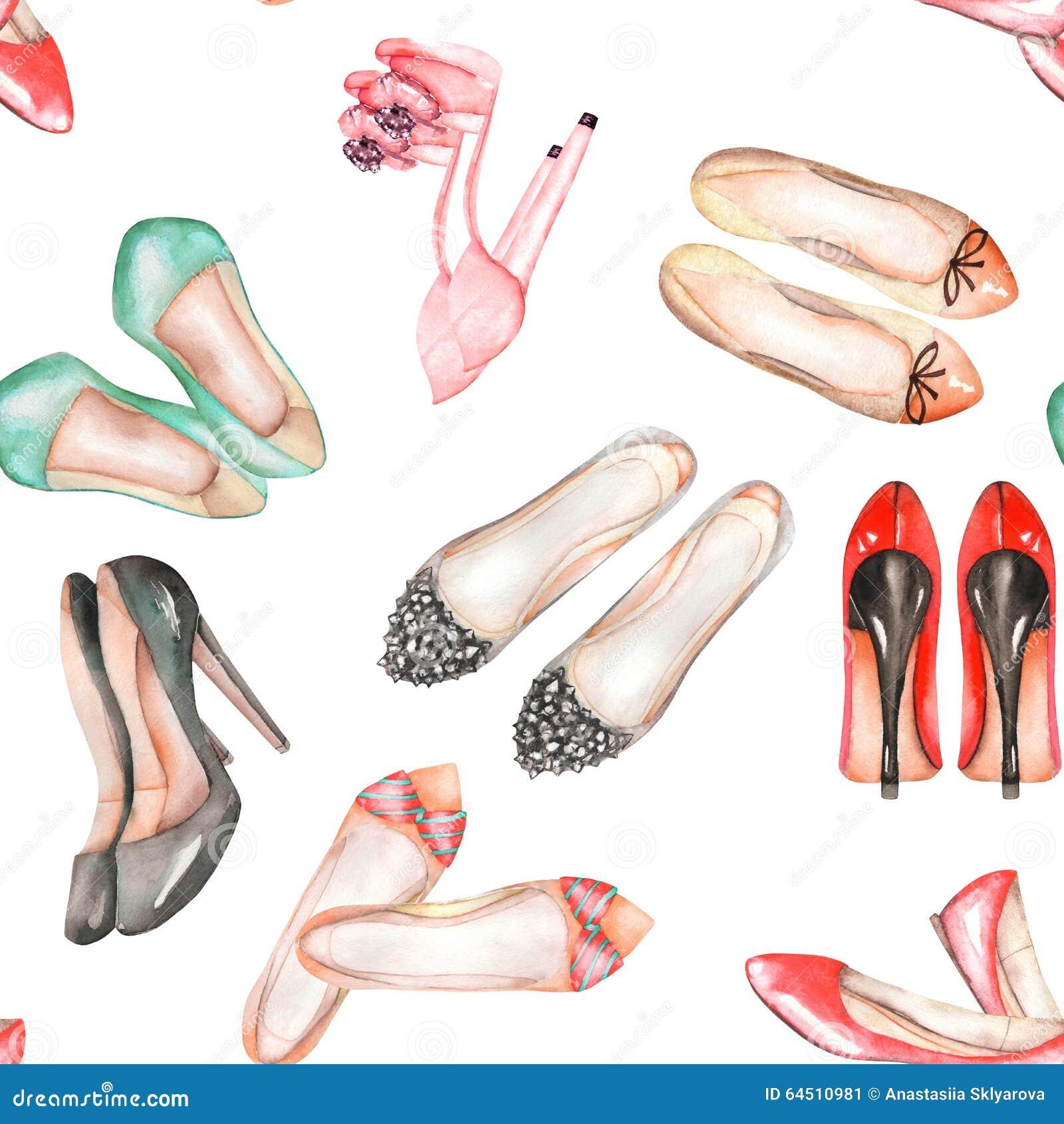 Безшовная картина акварели с ботинками лета женщин
